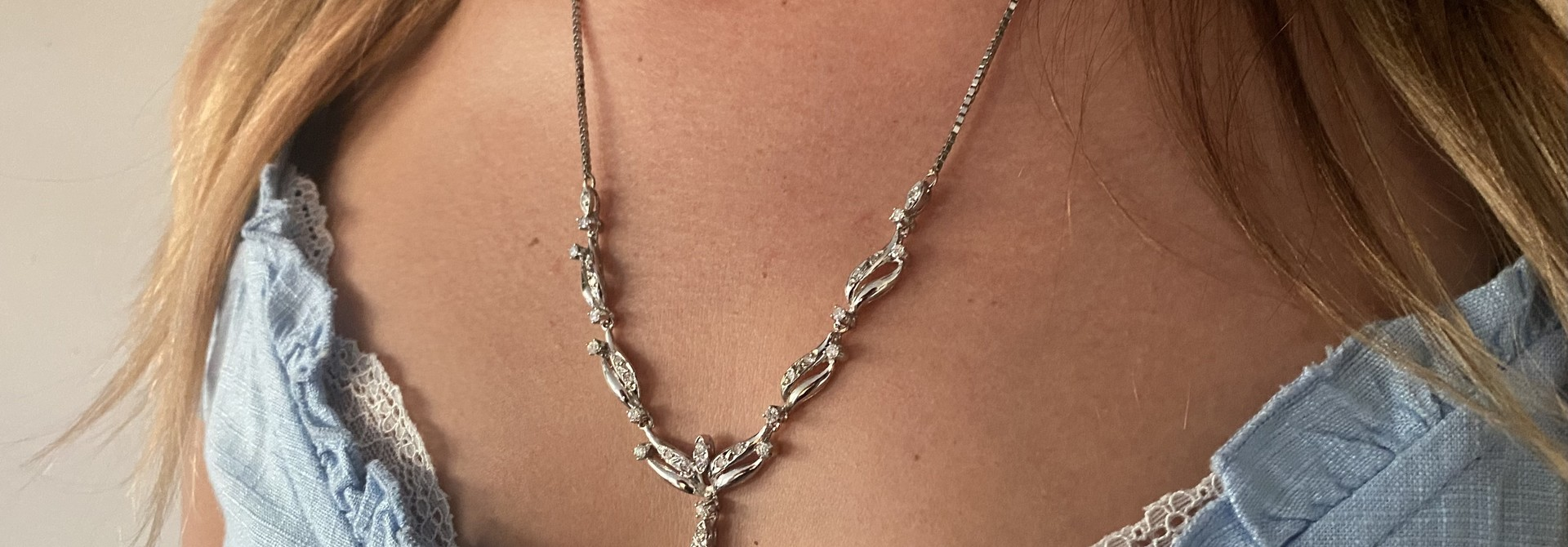 Ketting witgoud met diamantjes