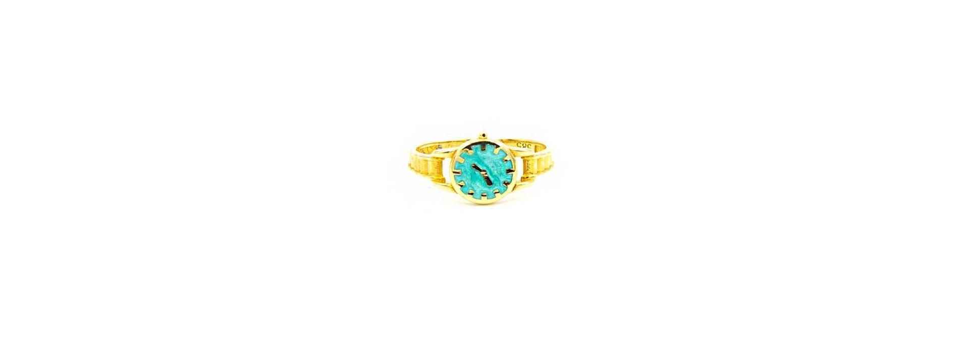 Ring horloge met gekleurde wijzerplaat