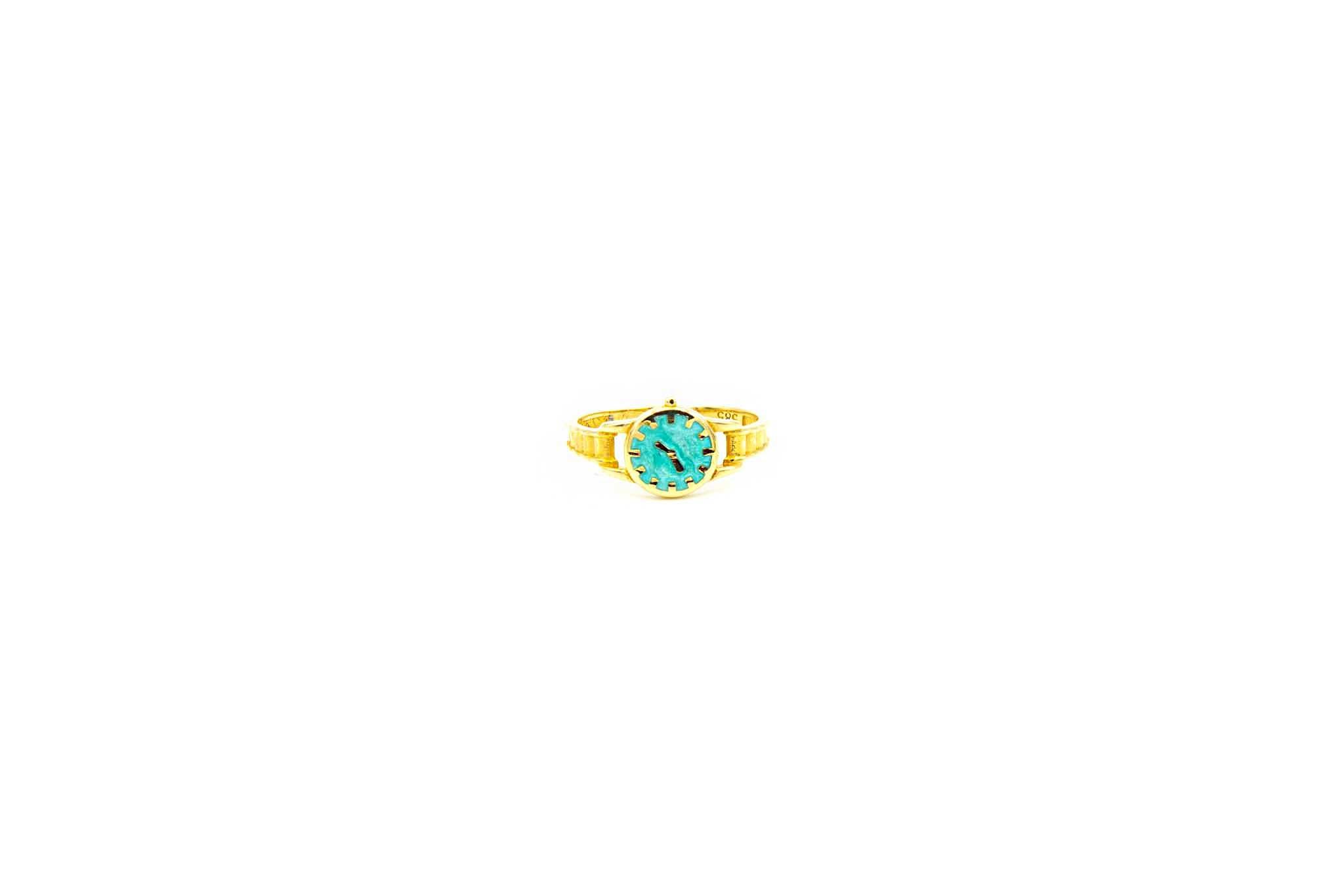 Ring horloge met gekleurde wijzerplaat-1