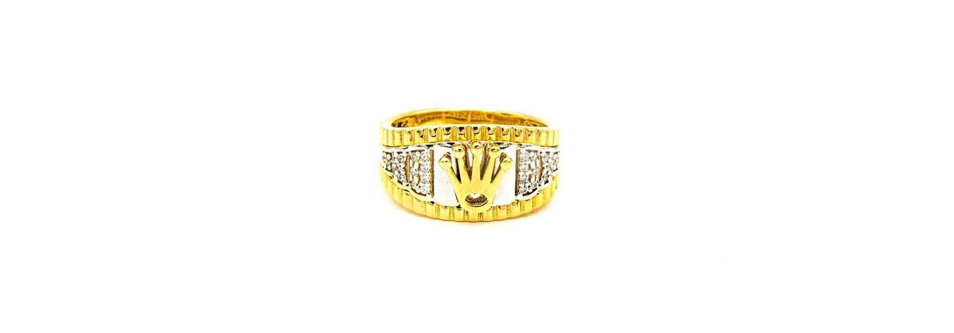Ring met kroontje en ingelegd met zirkonia's bicolor