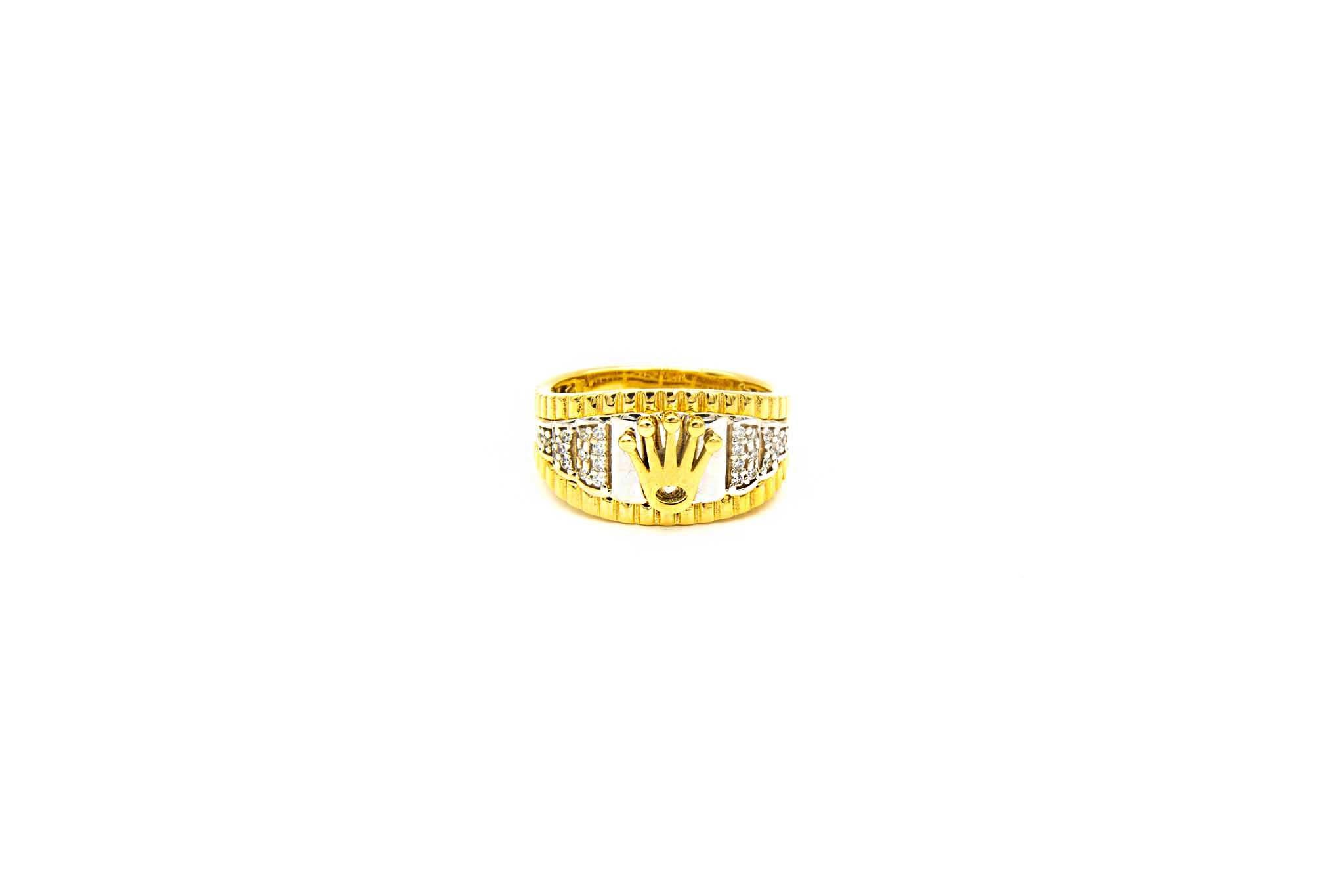 Ring met kroontje en ingelegd met zirkonia's bicolor-1