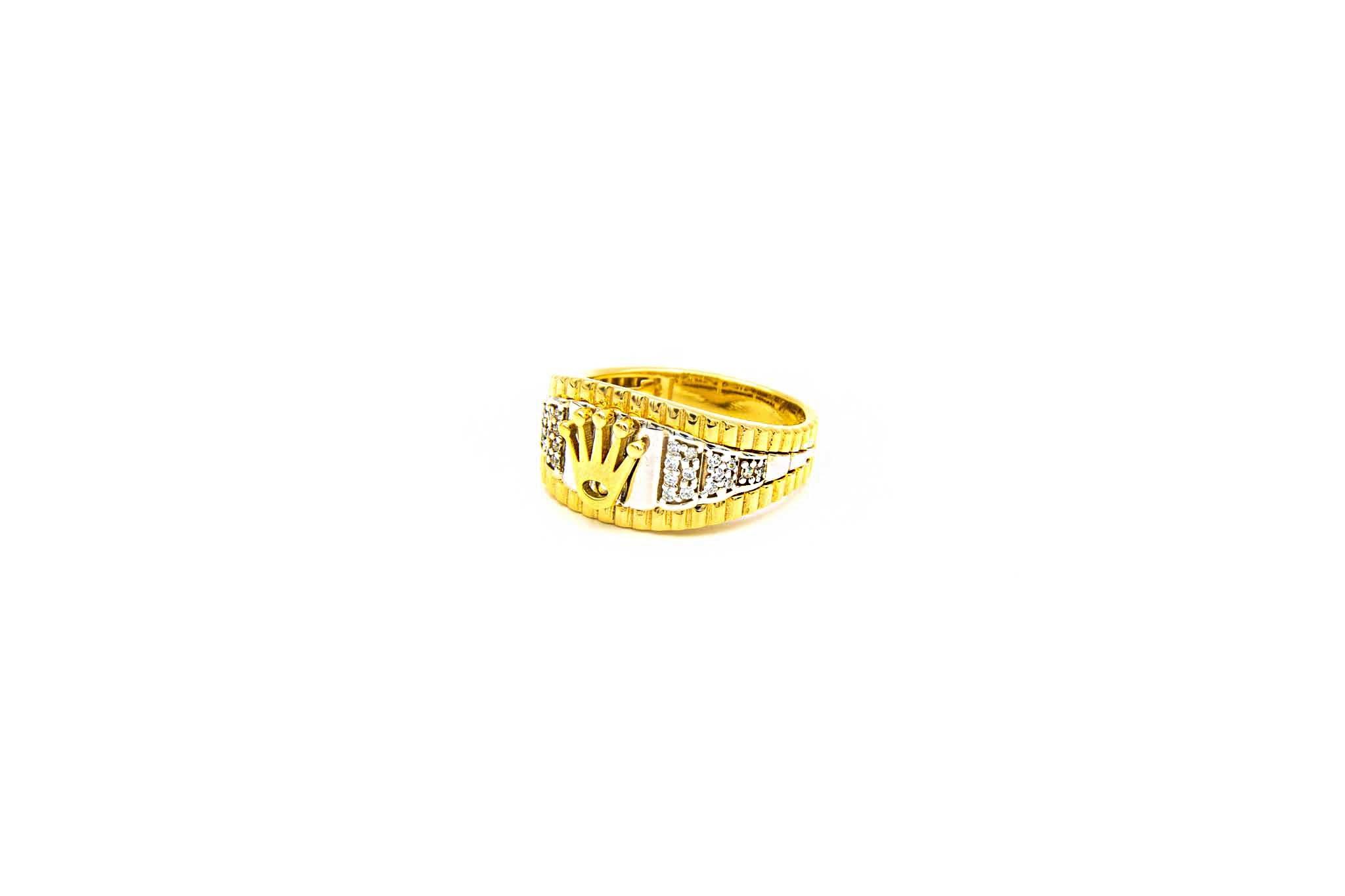 Ring met kroontje en ingelegd met zirkonia's bicolor-2