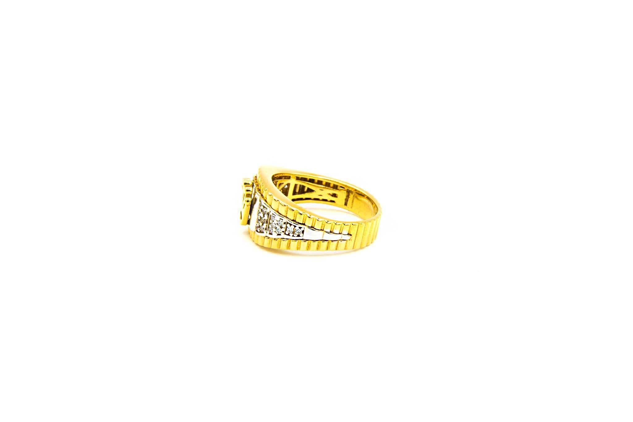 Ring met kroontje en ingelegd met zirkonia's bicolor-3