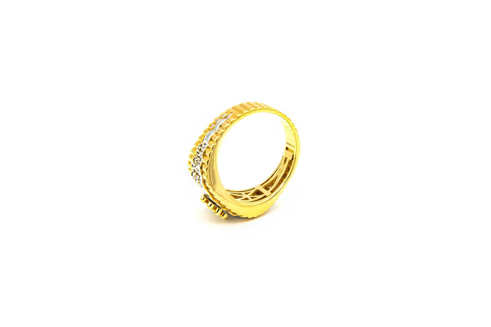 Ring met kroontje en ingelegd met zirkonia's bicolor-5