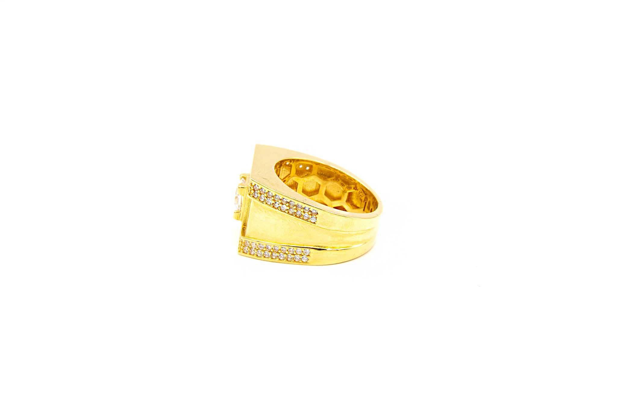 Ring zegel met grote en kleine zirkonia's-3