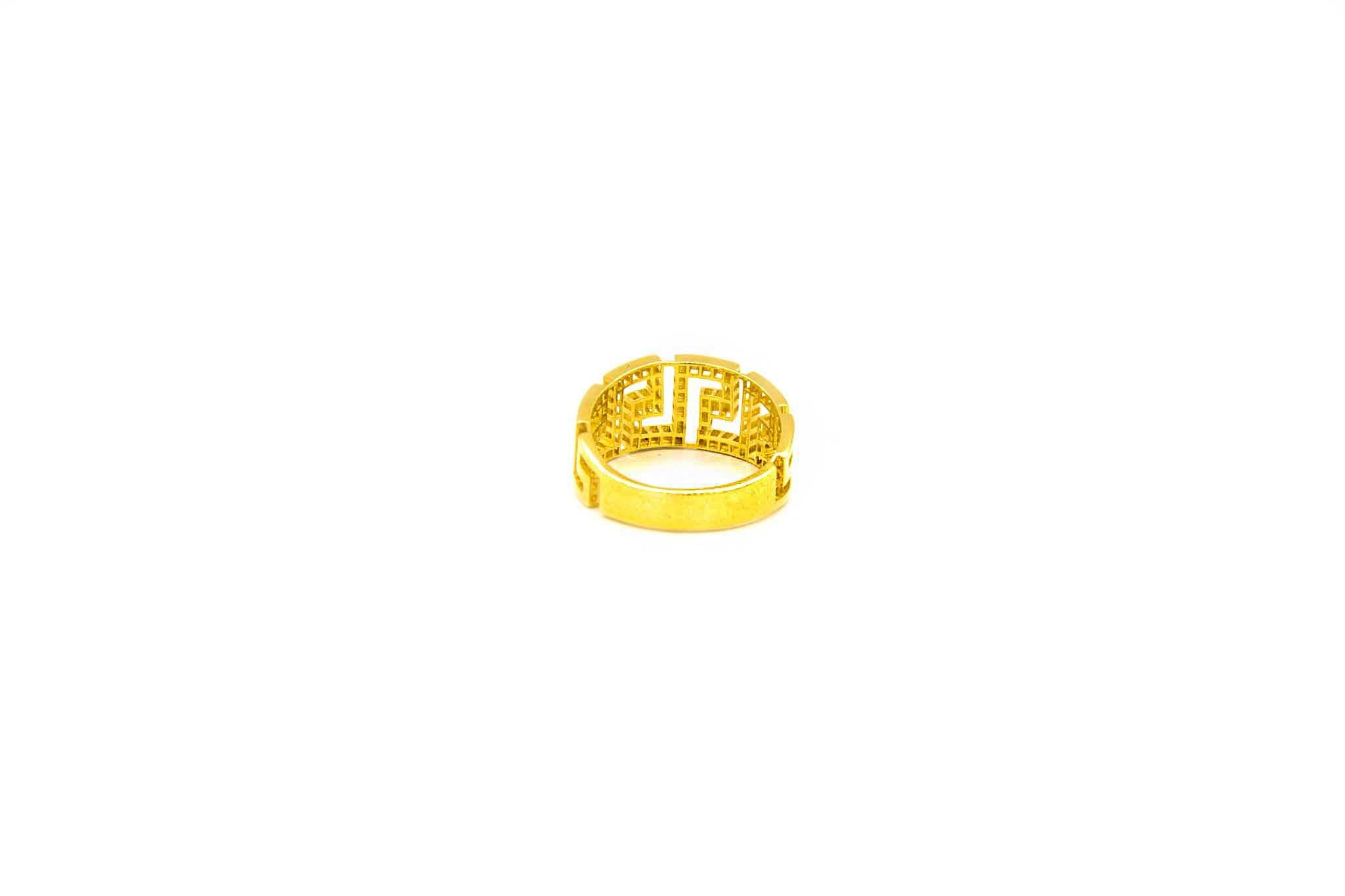 Ring solitair band ingelegd met zirkonia's-3