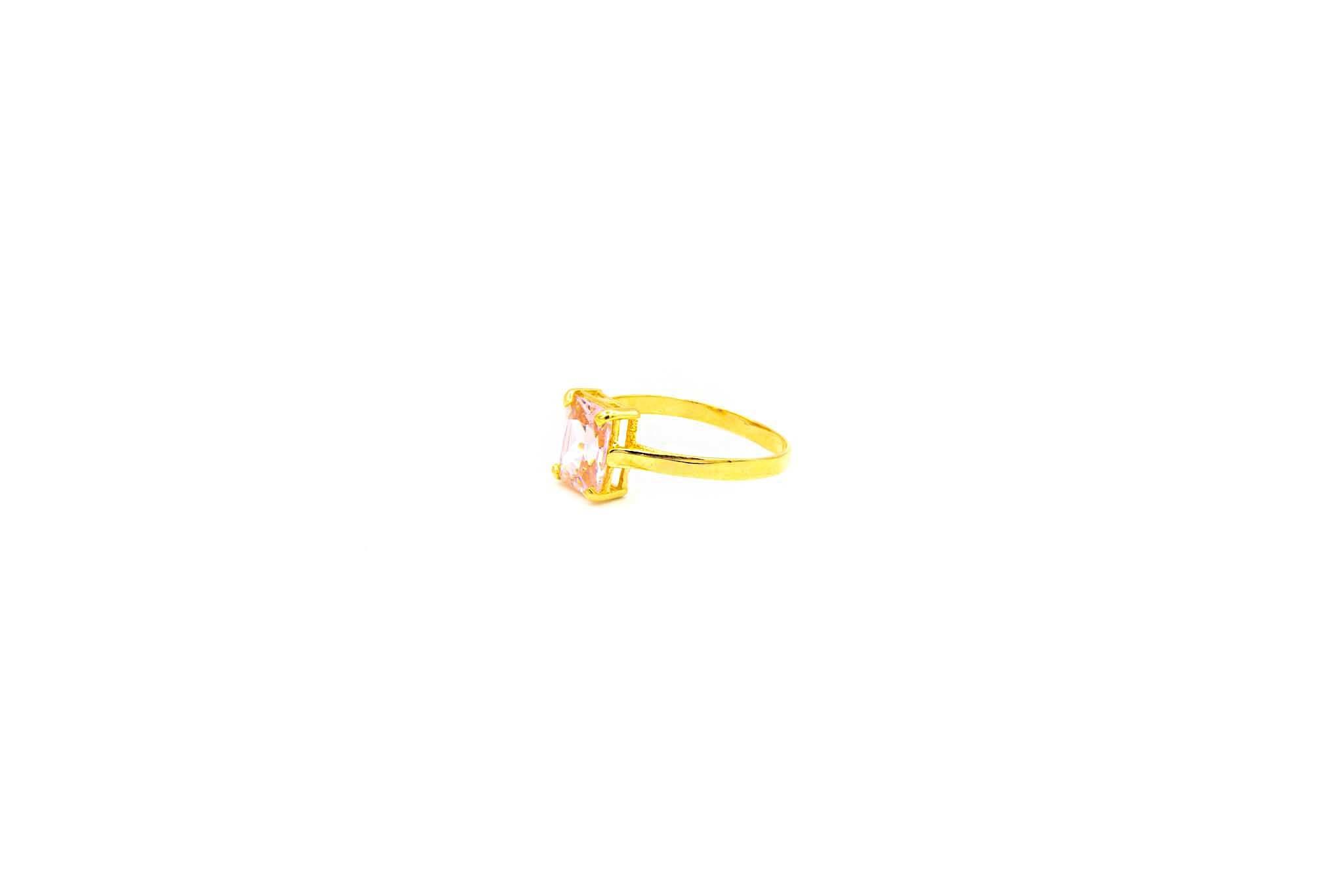 Ring solitair met roze zirkonia-2