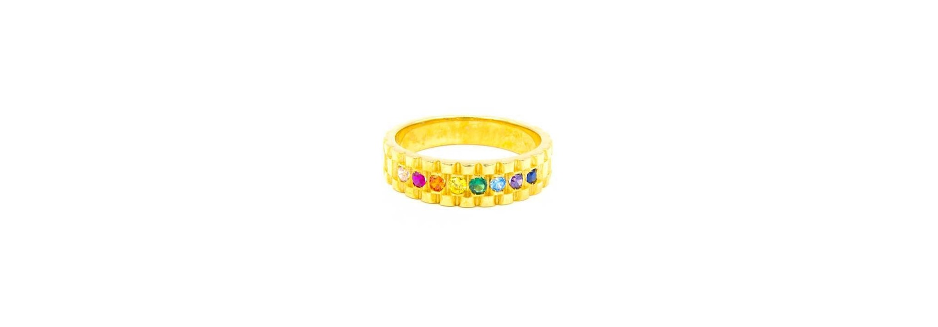 Ring met rolexschakel en gekleurde zirkonia's