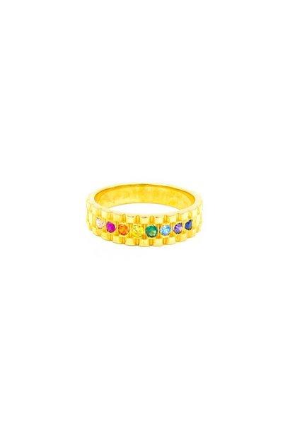 """""""Rainbow"""" ring met gekleurde zirkonia's"""