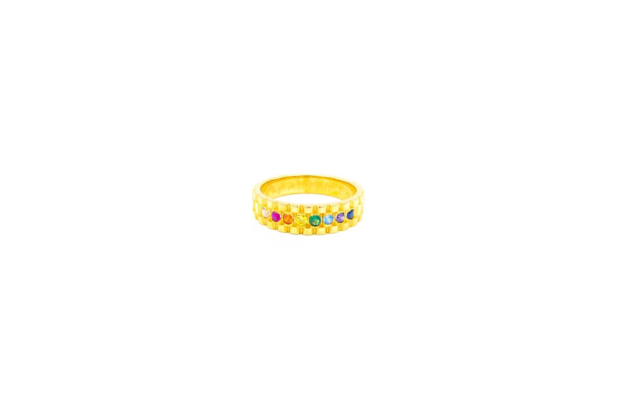 Ring met rolexschakel en gekleurde zirkonia's-1