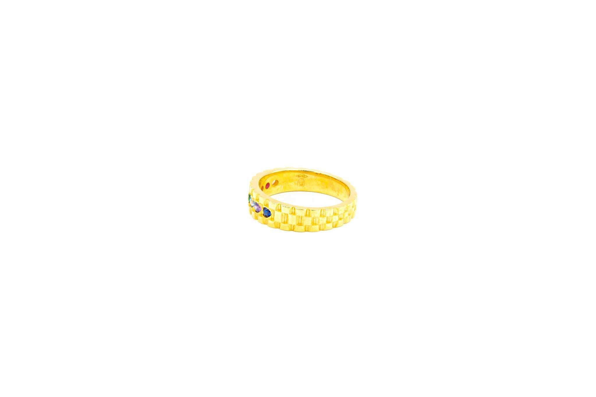 Ring met rolexschakel en gekleurde zirkonia's-2
