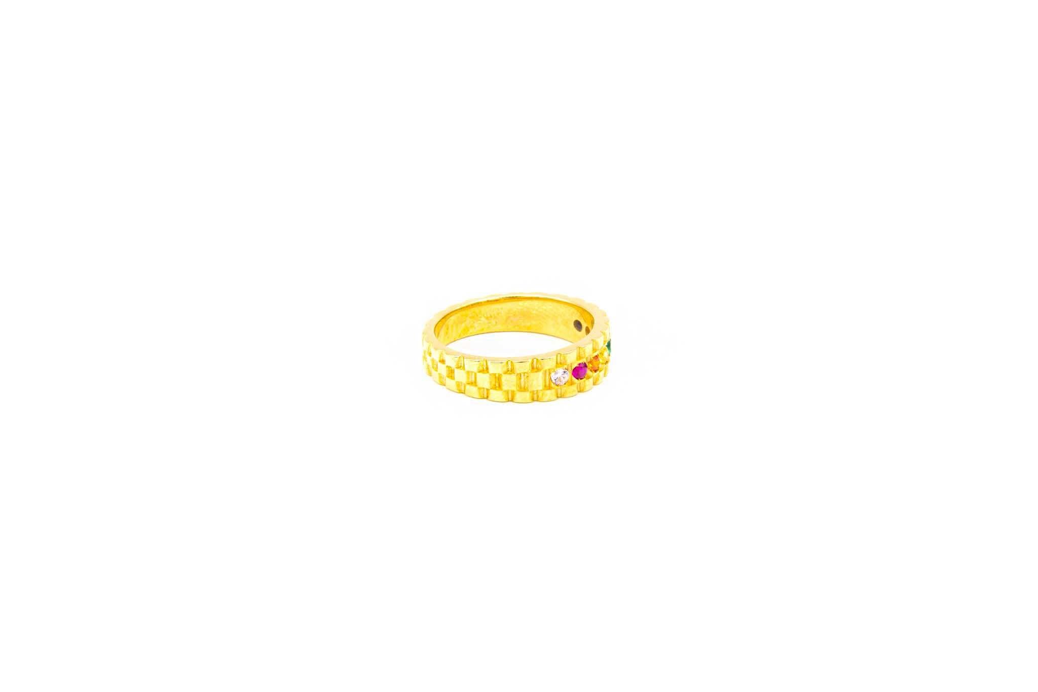 Ring met rolexschakel en gekleurde zirkonia's-3