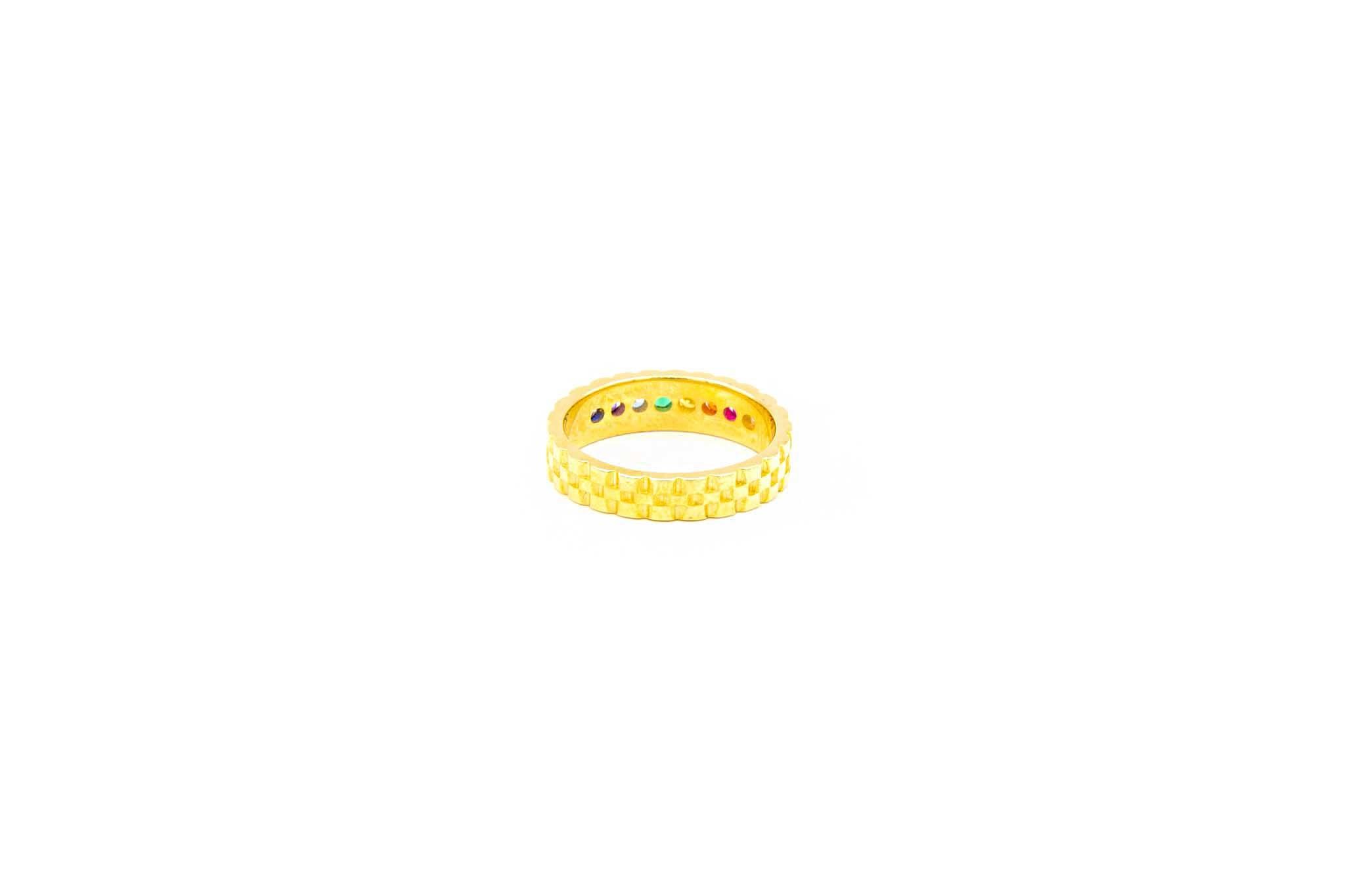 Ring met rolexschakel en gekleurde zirkonia's-4