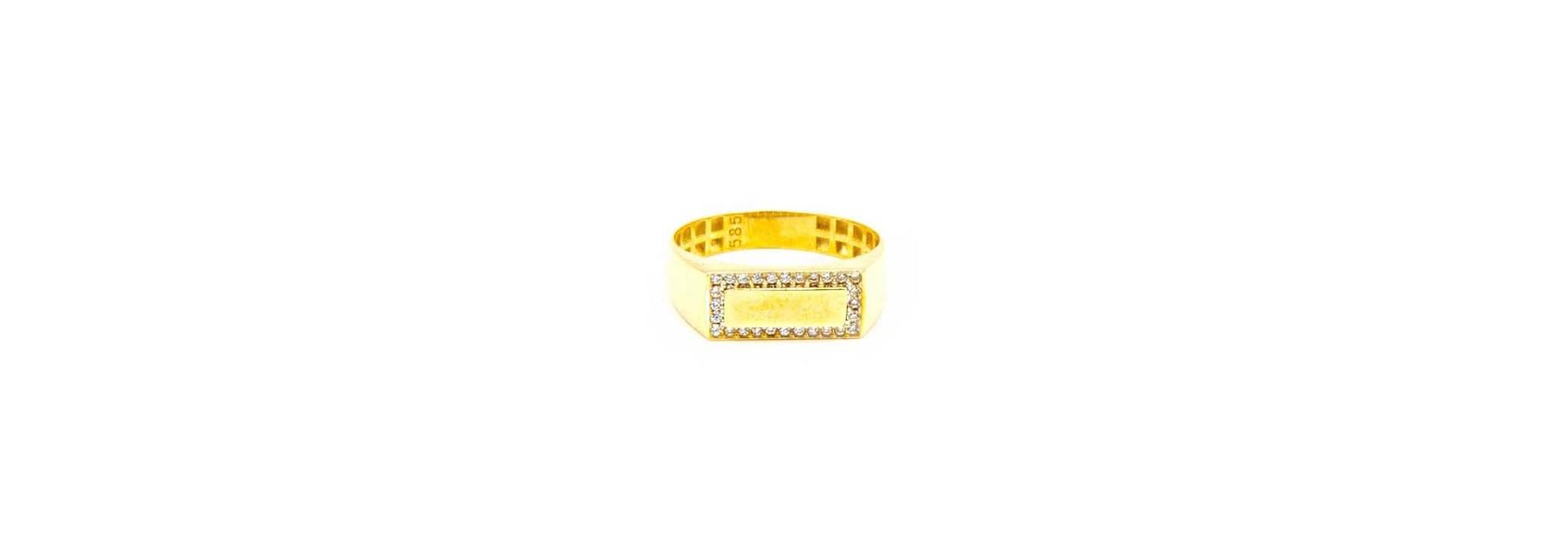 Ring met smalle zegel omlijst met zironia's