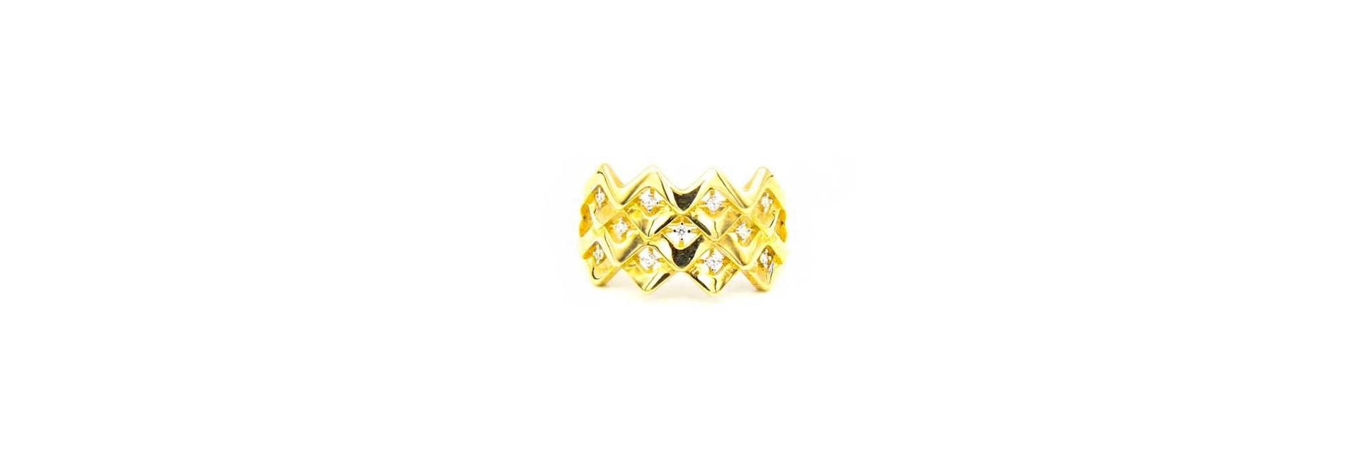Ring breed patroon met zirkonia's