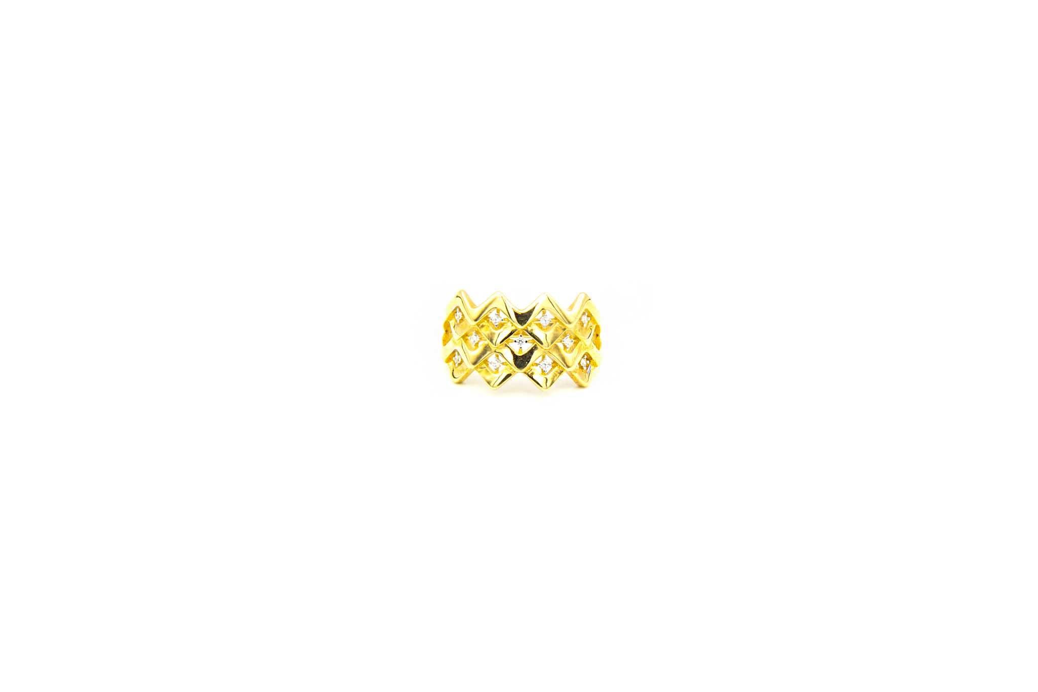 Ring breed patroon met zirkonia's-1