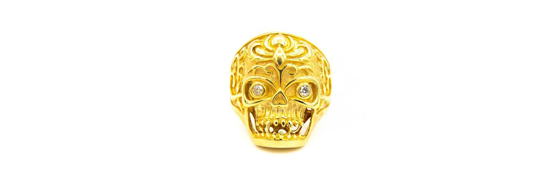 Ring skull met zirkonia's