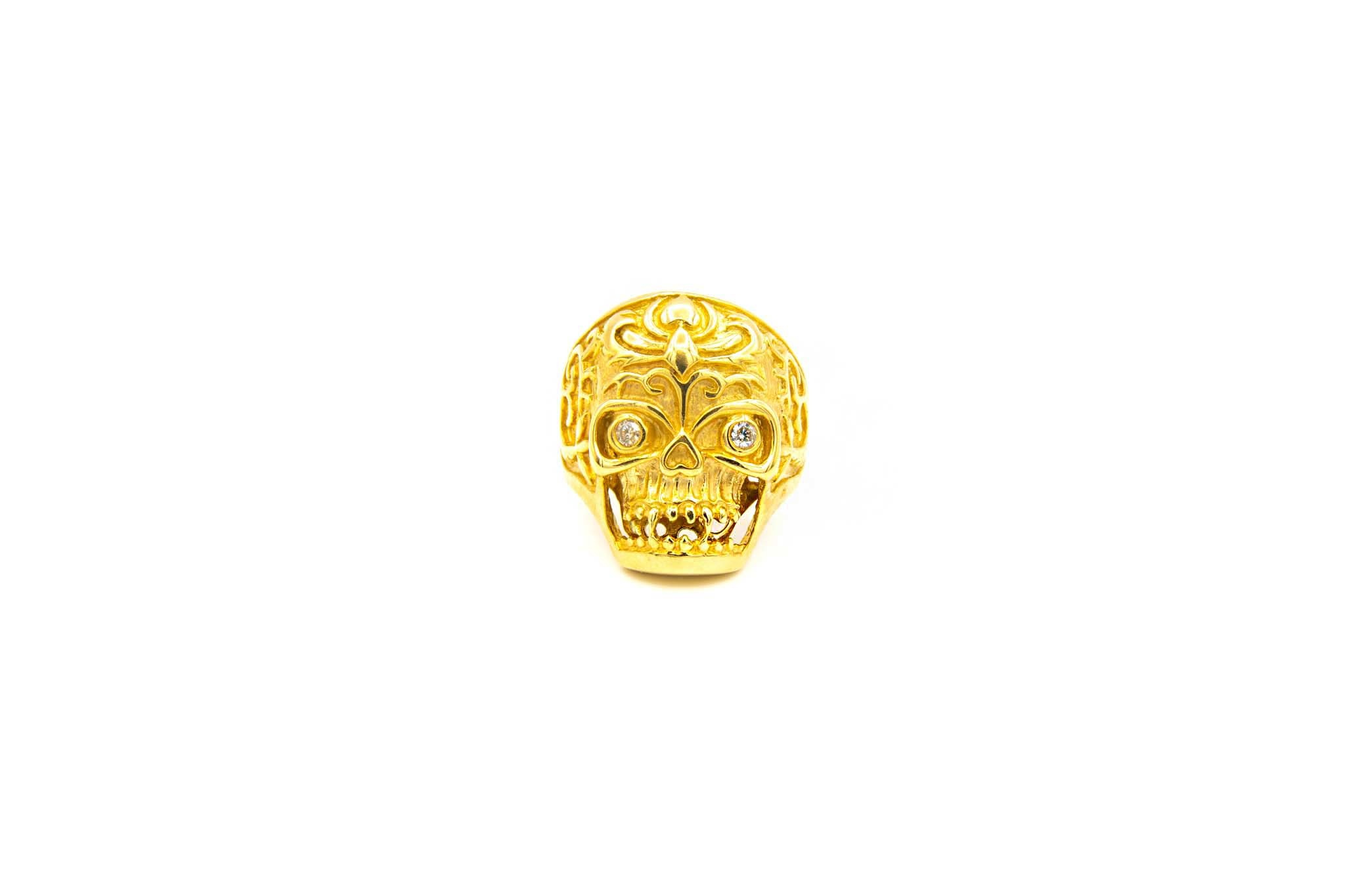 Ring skull met zirkonia's-1
