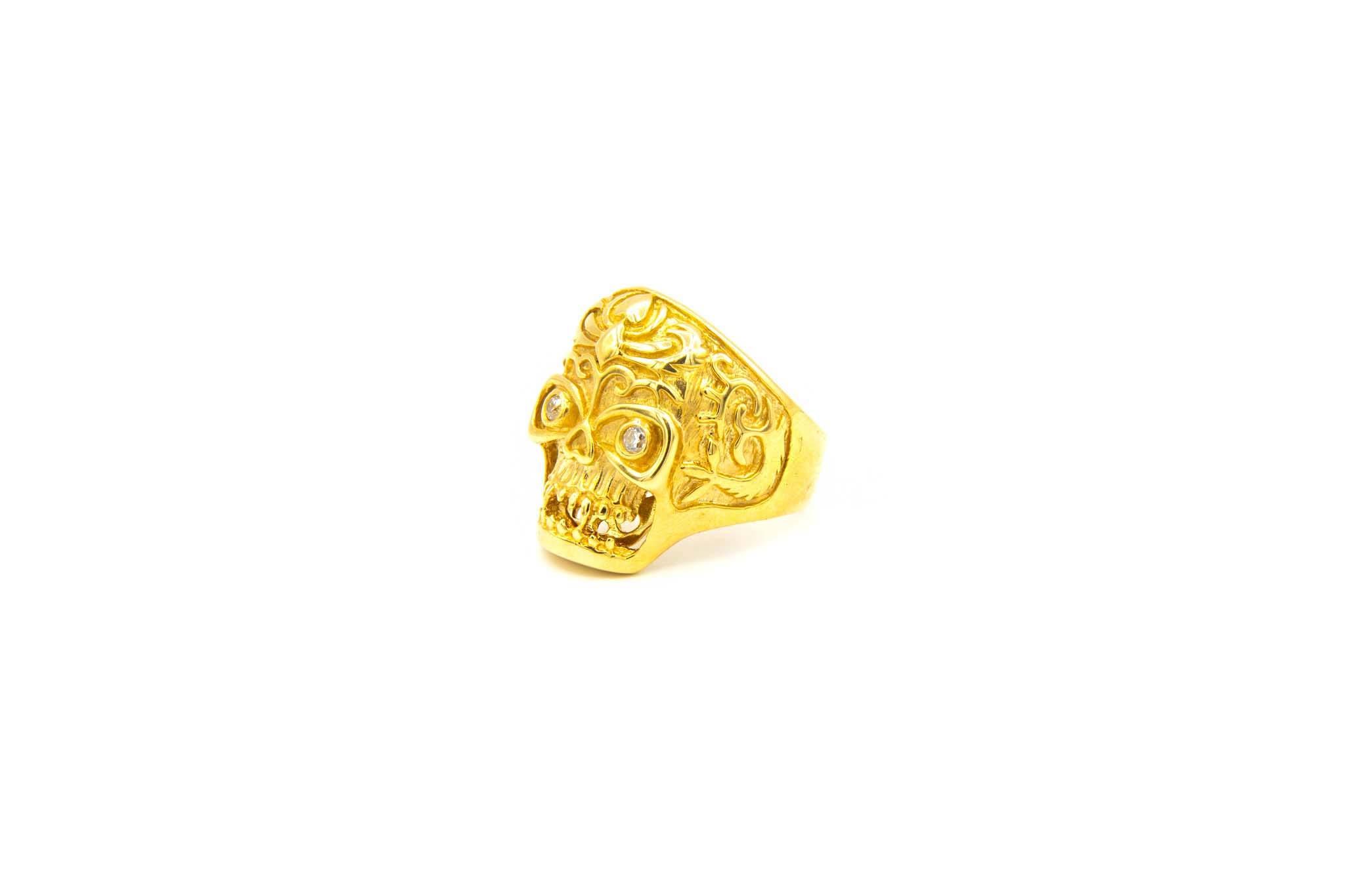 Ring skull met zirkonia's-2