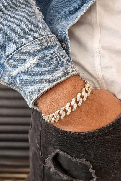 """Christophe"" armband cuban zirkonia's bicolor 12mm"
