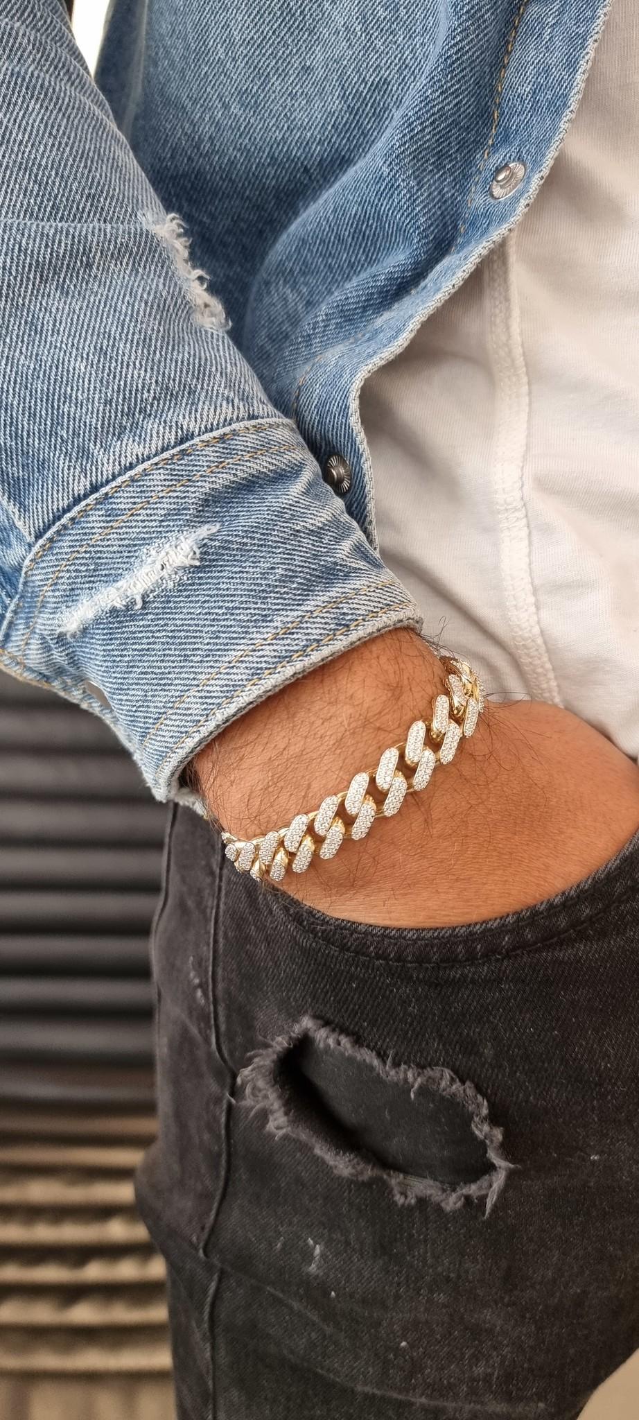 Armband bicolor cuban link schakel met zirkonia's-1