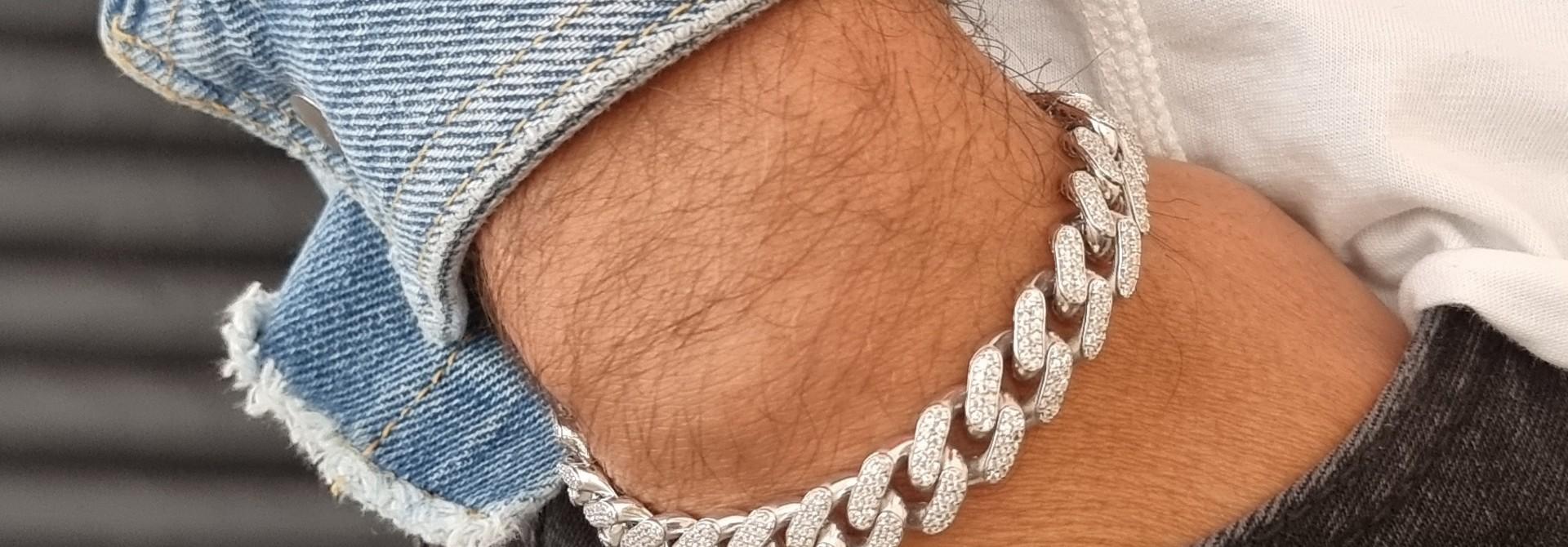 Armband witgoud cuban link schakel met zirkonia's
