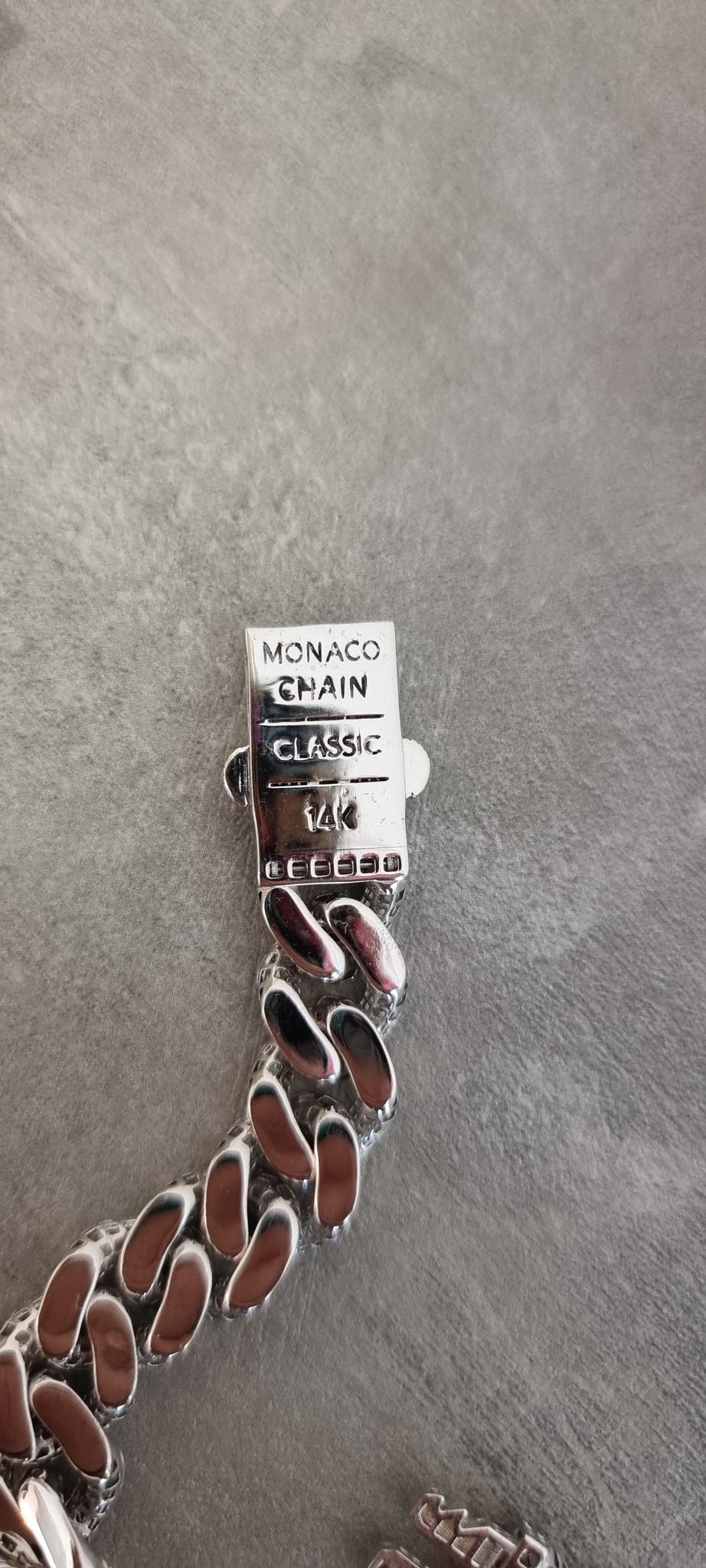 Armband witgoud cuban link schakel met zirkonia's-3