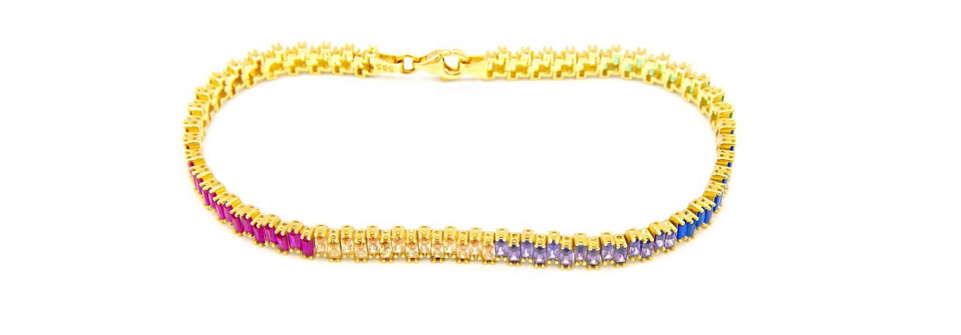 Armband tennisband bezet met rainbow zirkonia's  om en om