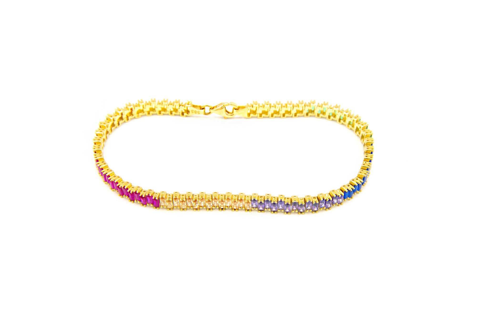 Armband tennisband bezet met rainbow zirkonia's  om en om-1