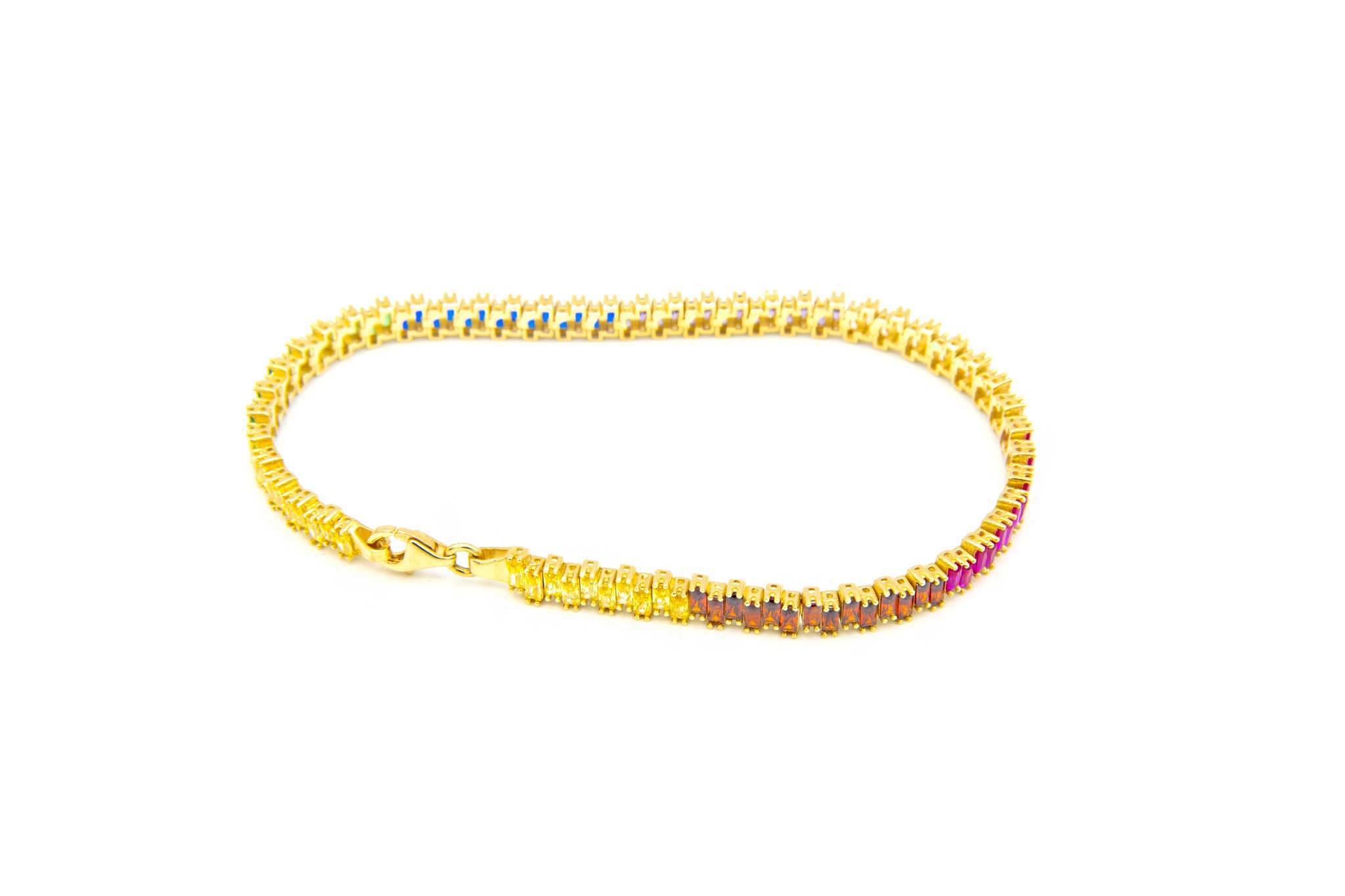 Armband tennisband bezet met rainbow zirkonia's  om en om-3