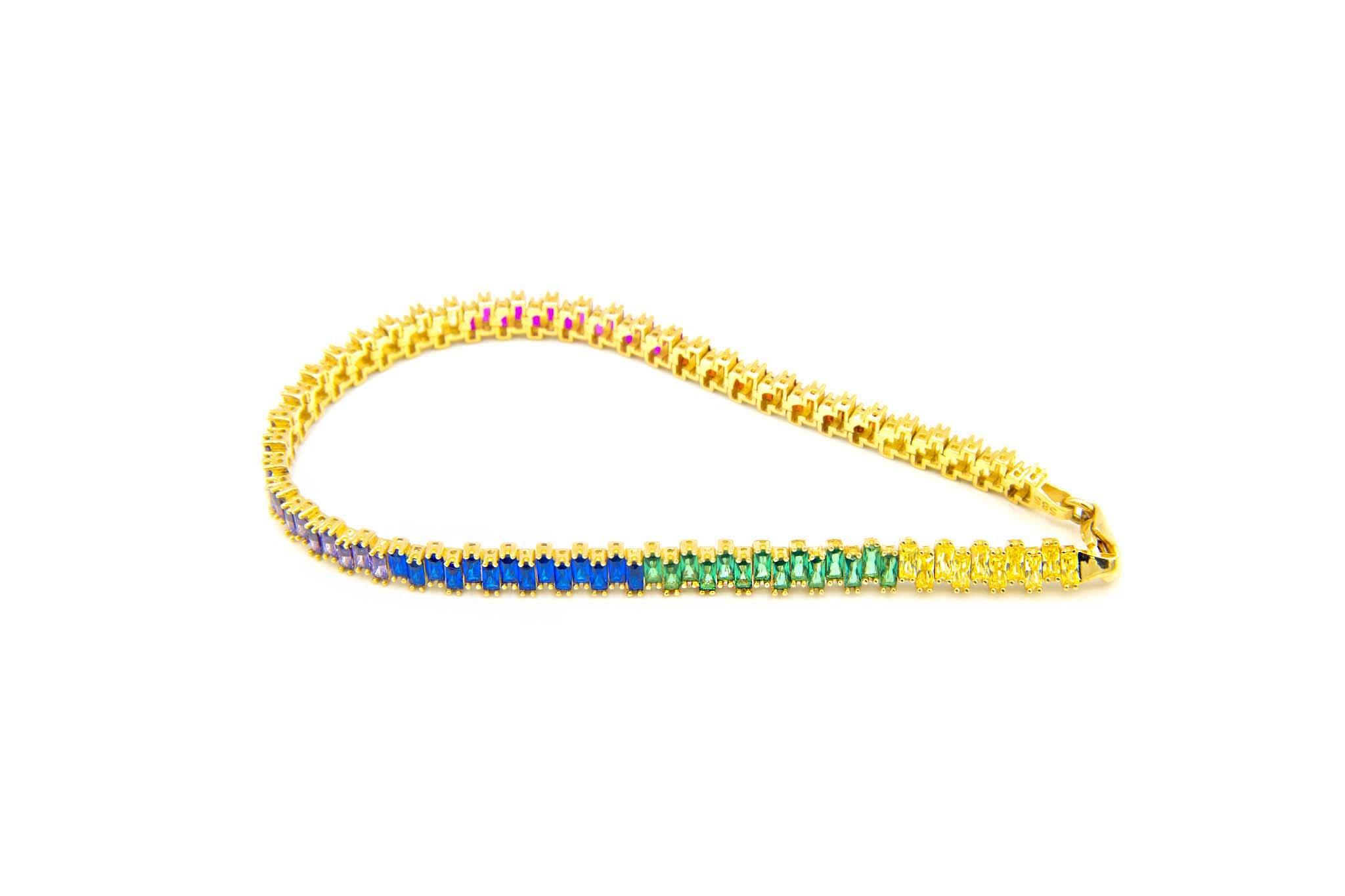 Armband tennisband bezet met rainbow zirkonia's  om en om-4