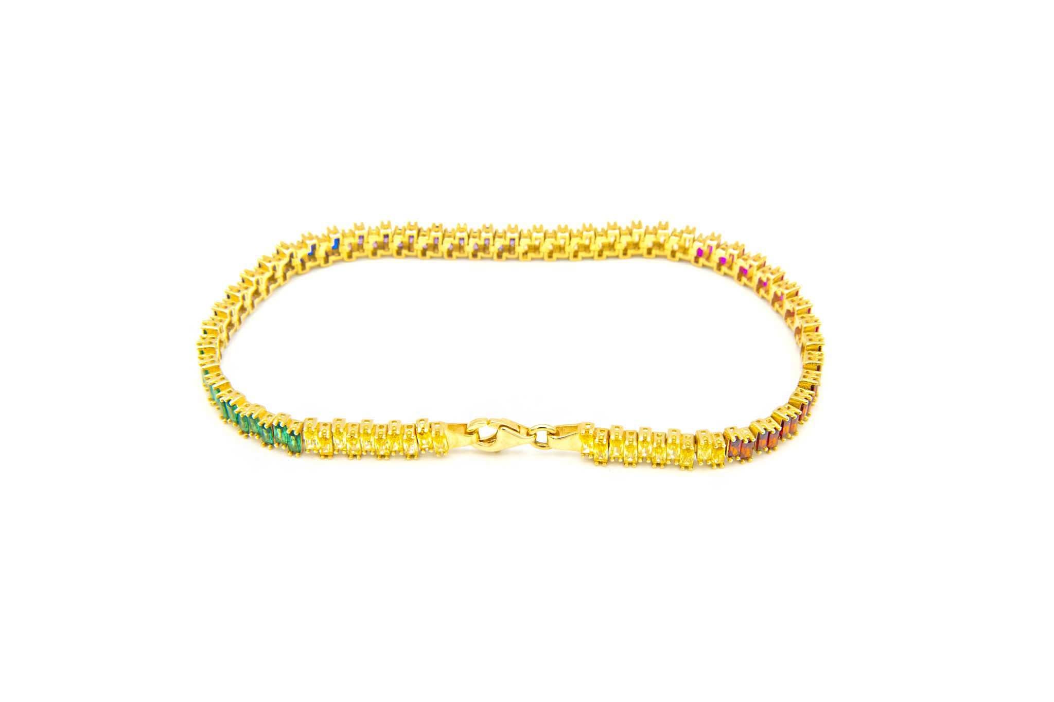 Armband tennisband bezet met rainbow zirkonia's  om en om-5