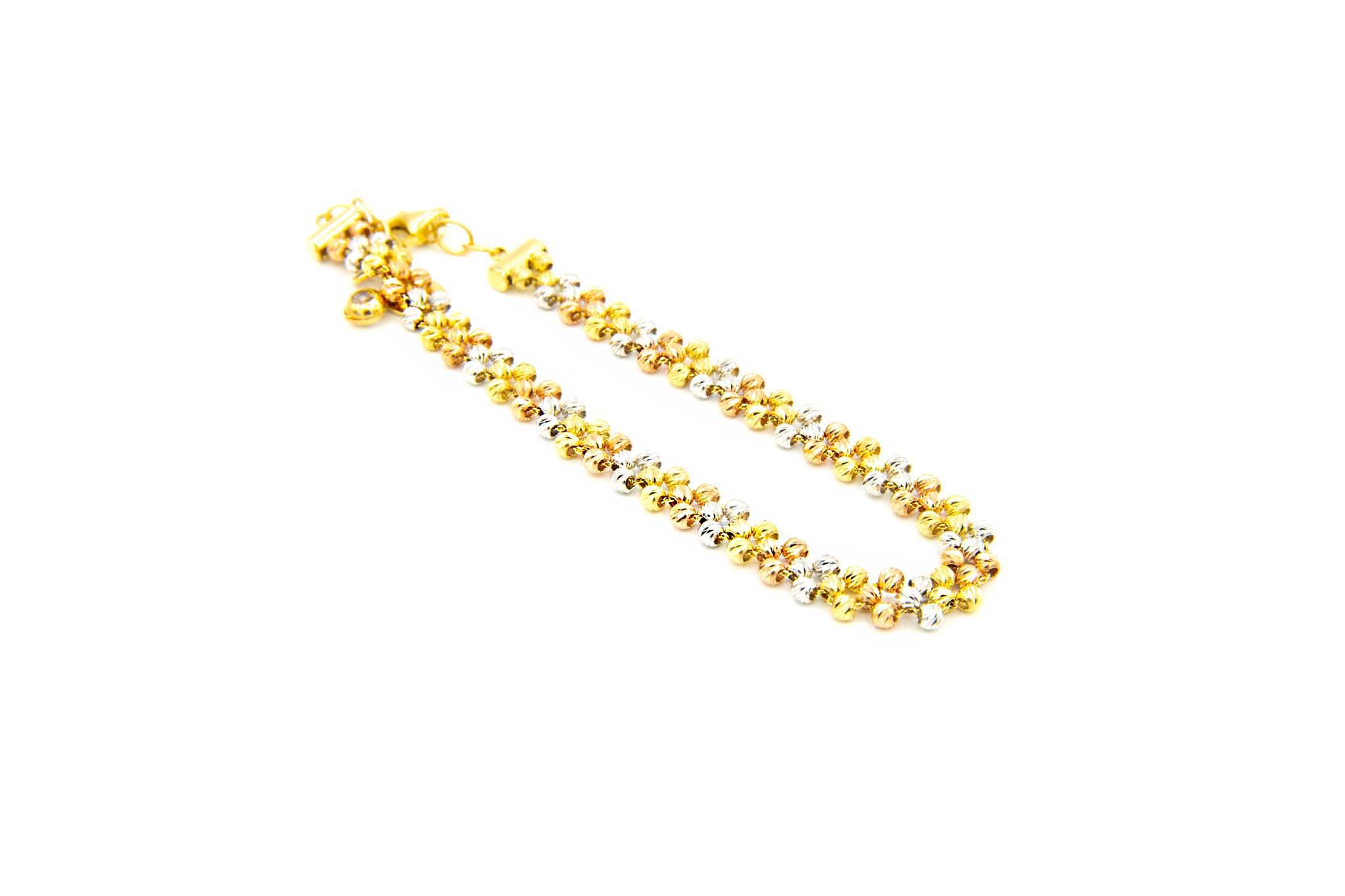 Armband bloemetjes van diamond cut balletjes tricolor-4