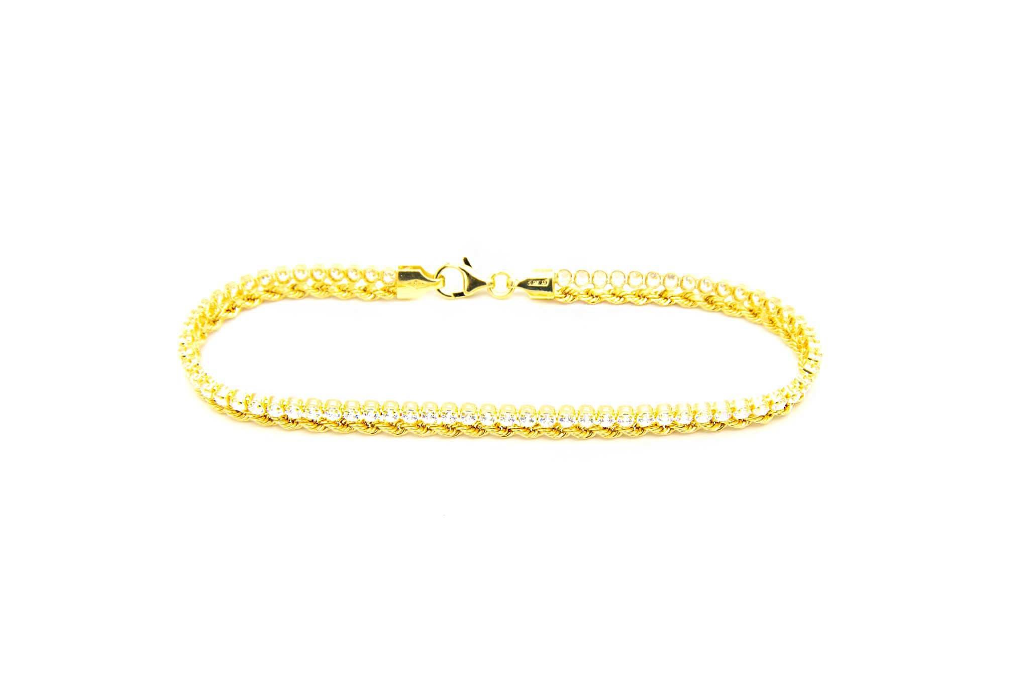 Armband 1 rope chain en 1 zirkonia rij-2