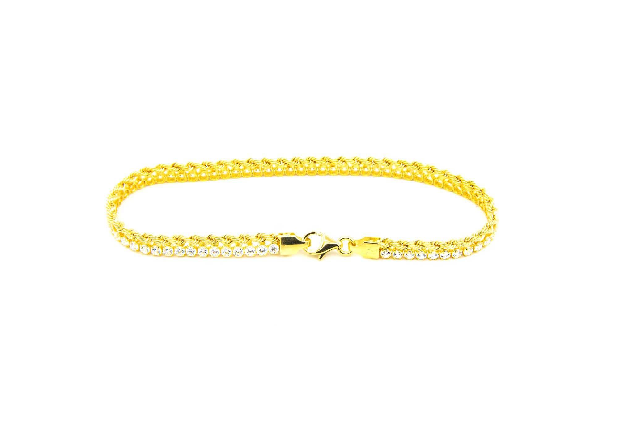 Armband 1 rope chain en 1 zirkonia rij-3