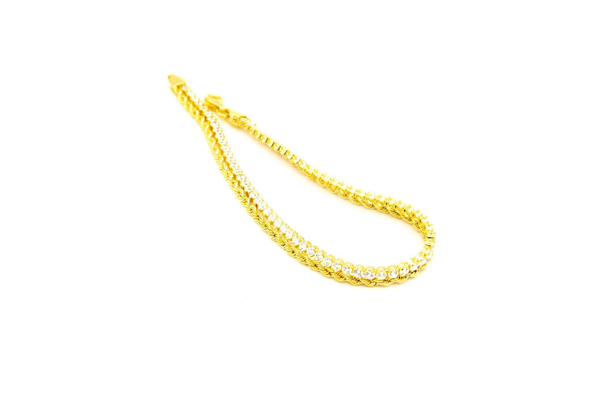 Armband 1 rope chain en 1 zirkonia rij-4
