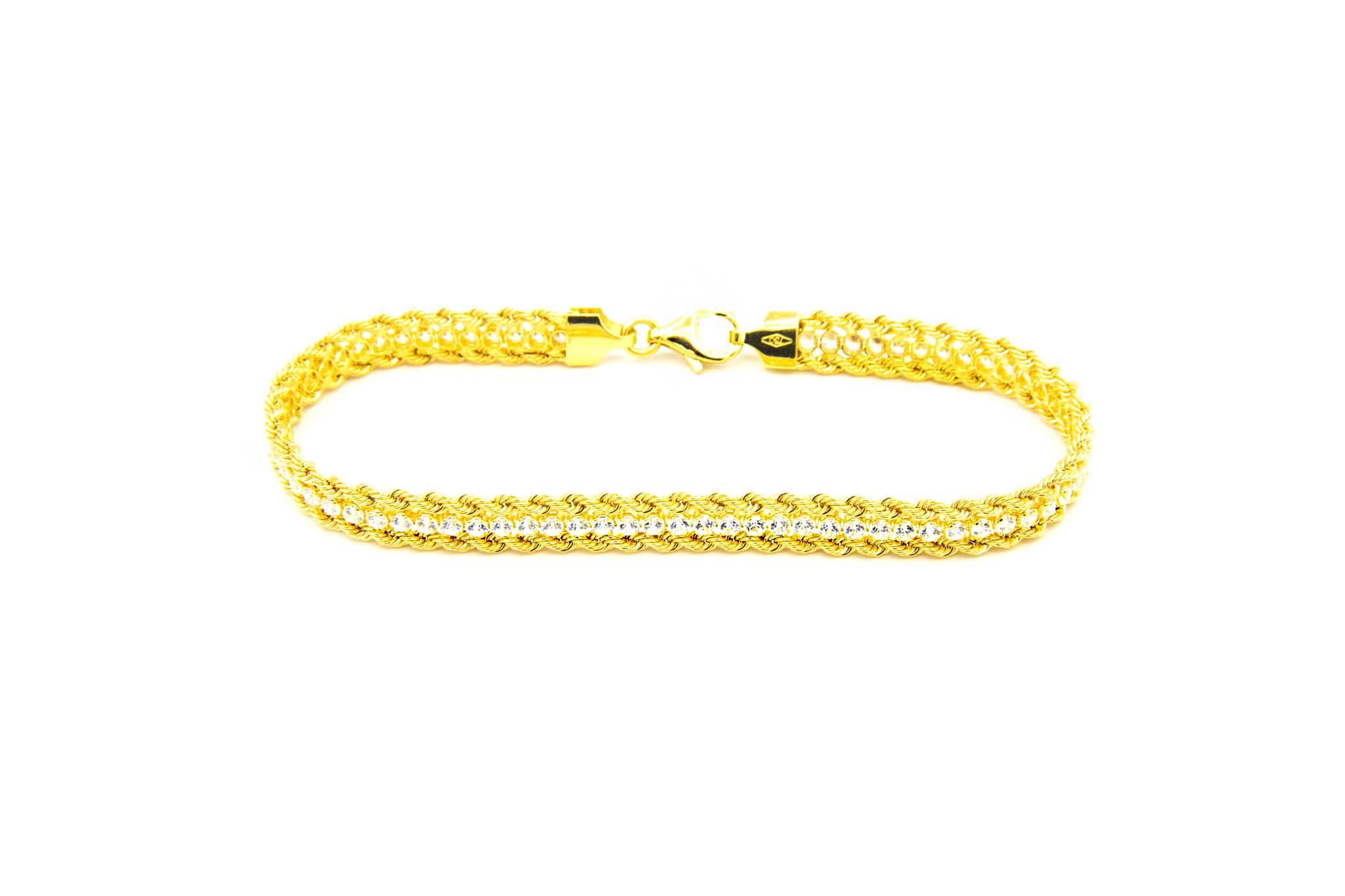 Armband dubbele rope chain met zirkonia's ertussen-2
