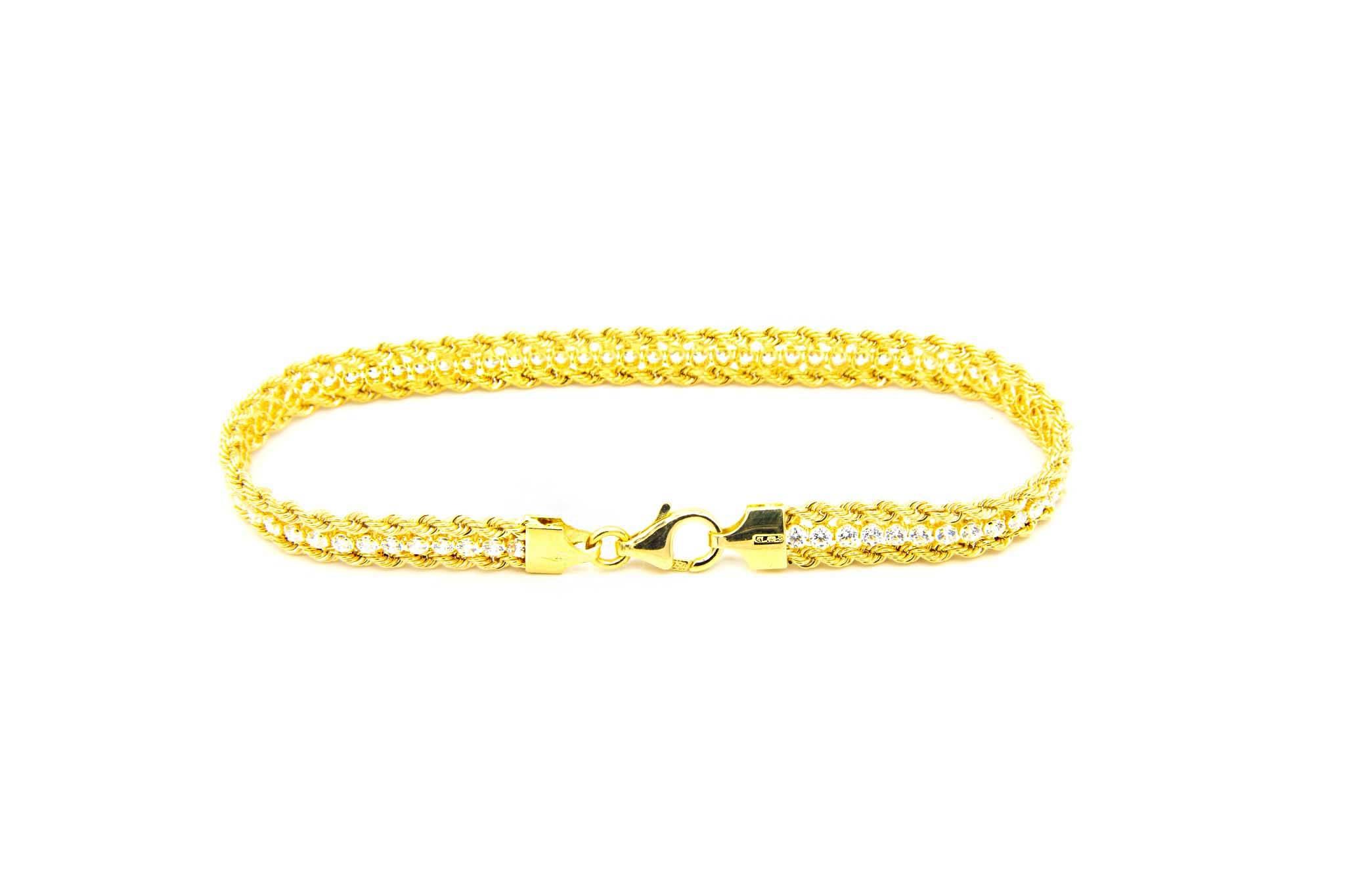 Armband dubbele rope chain met zirkonia's ertussen-3