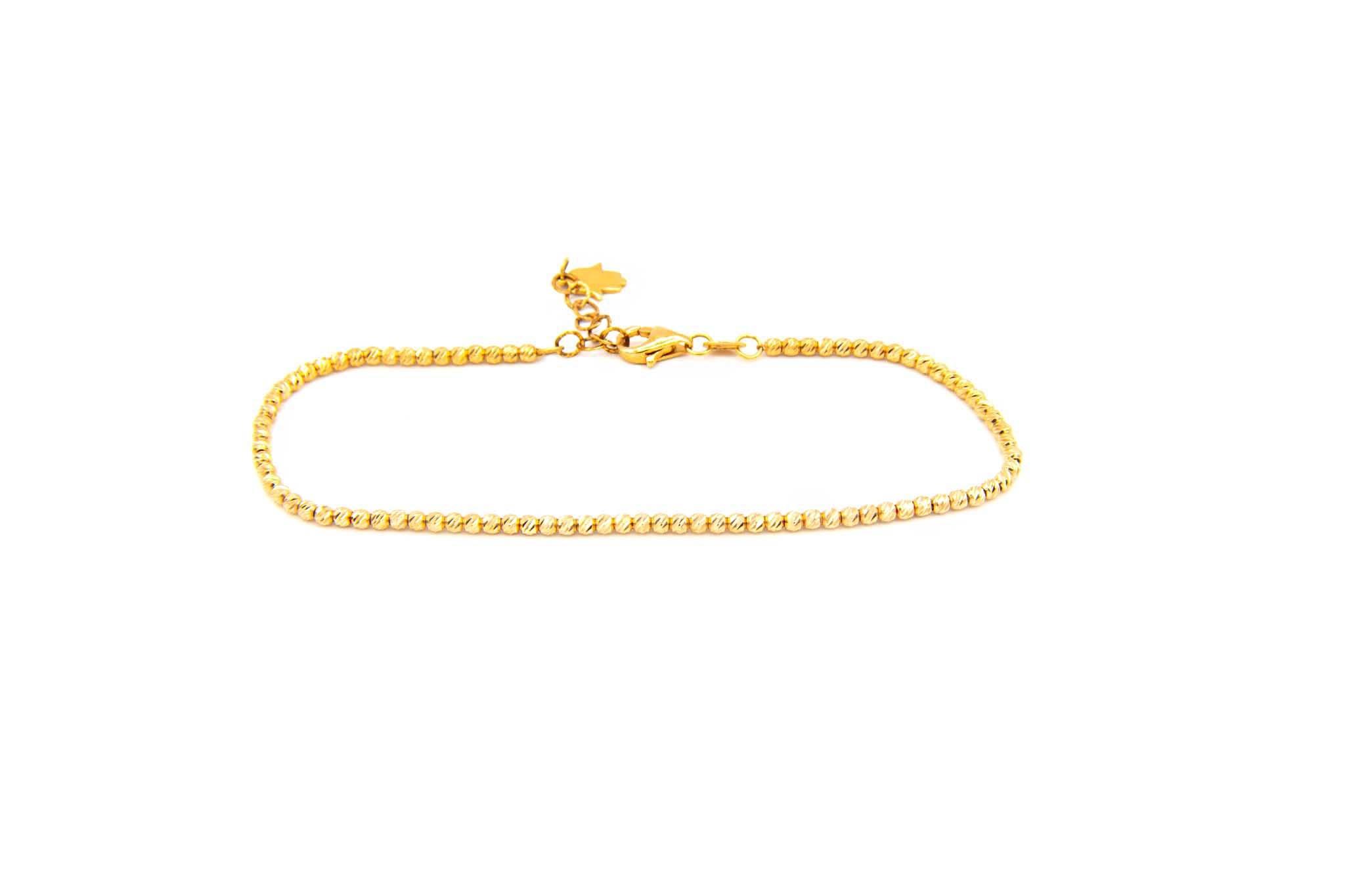Armband diamond cut balletjes met hangertje handje rose-2