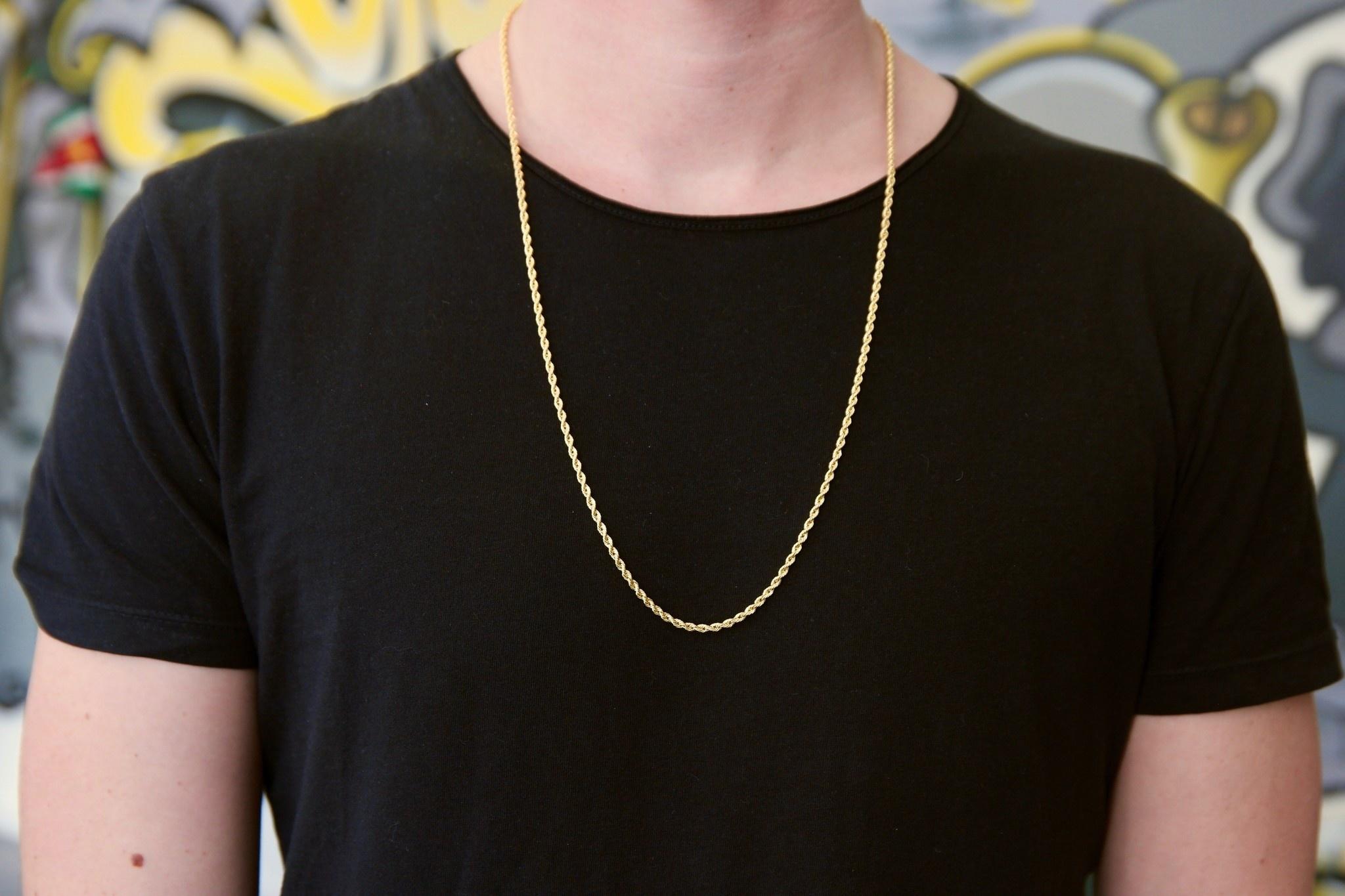 Rope chain ketting massief goud 14 kt 2.5 mm-4