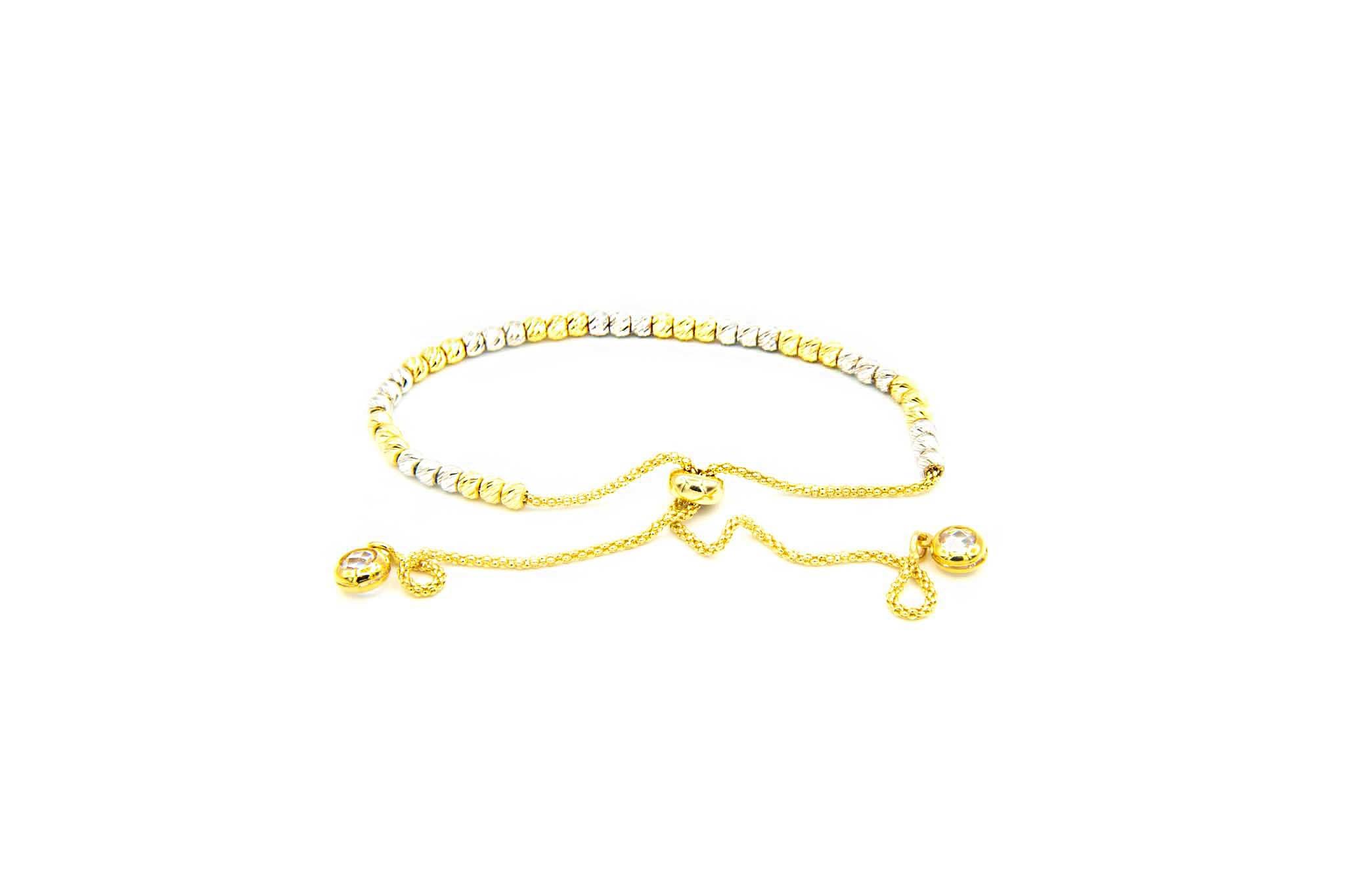 Armband bicolor met diamond cut balletjes en zirkonia's-2