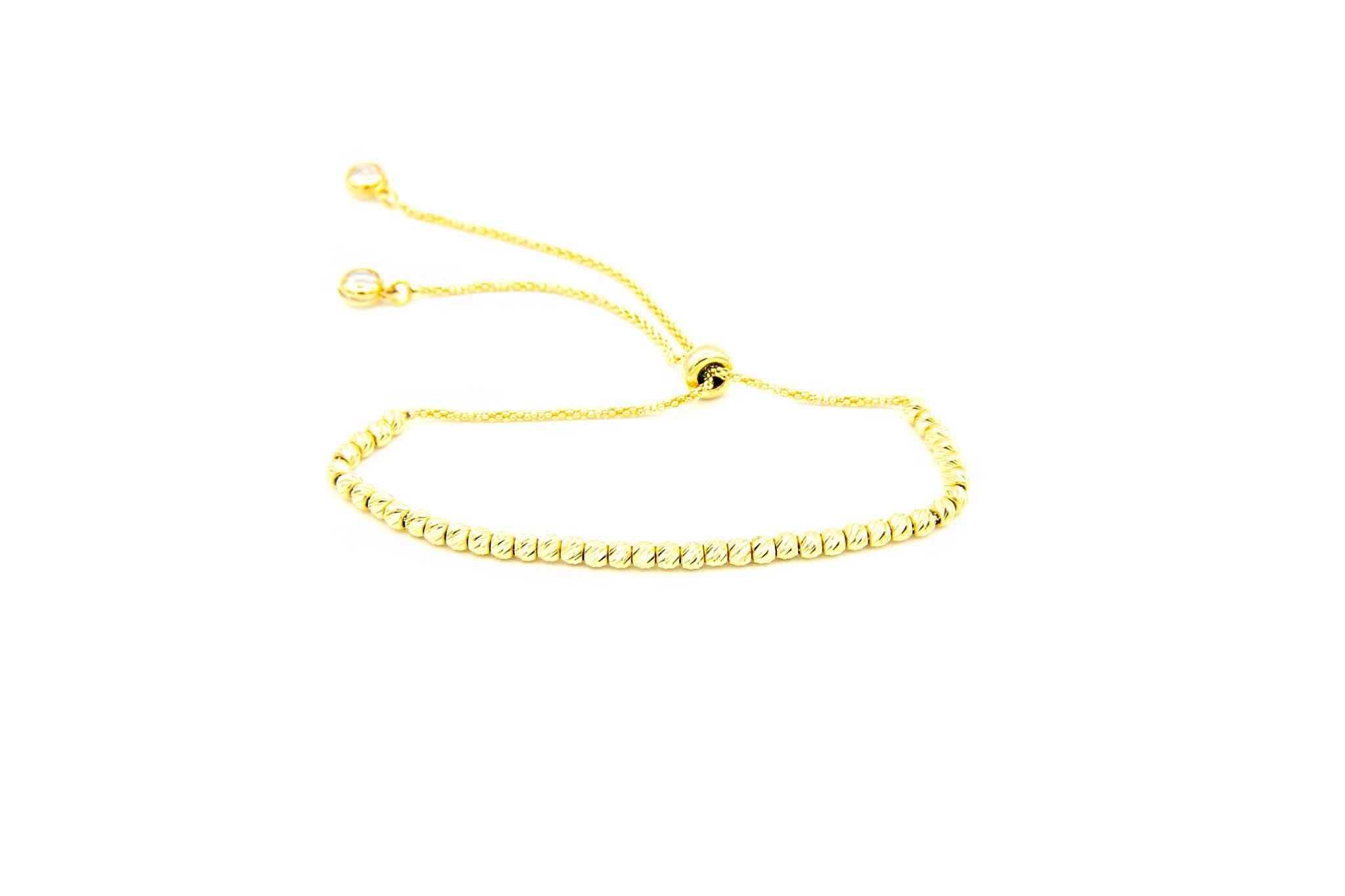Armband met diamond cut balletjes en zirkonia's-2