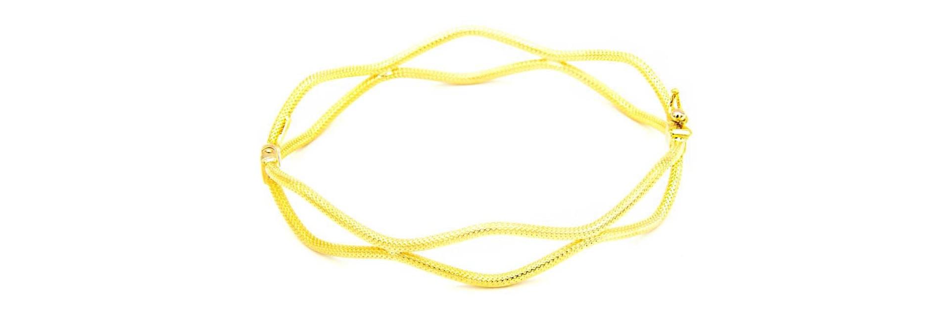 Armband vaste bewerkte dubbele gegolfde band