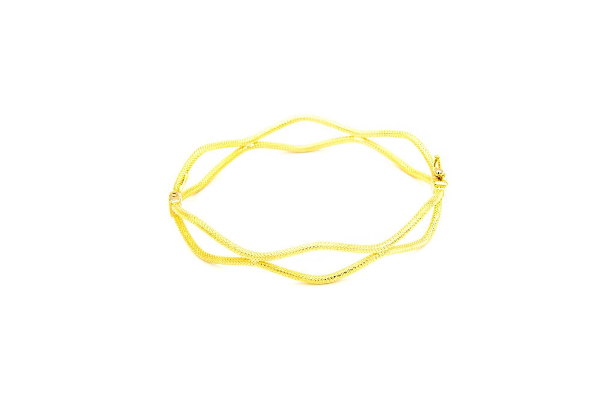 Armband vaste bewerkte dubbele gegolfde band-1