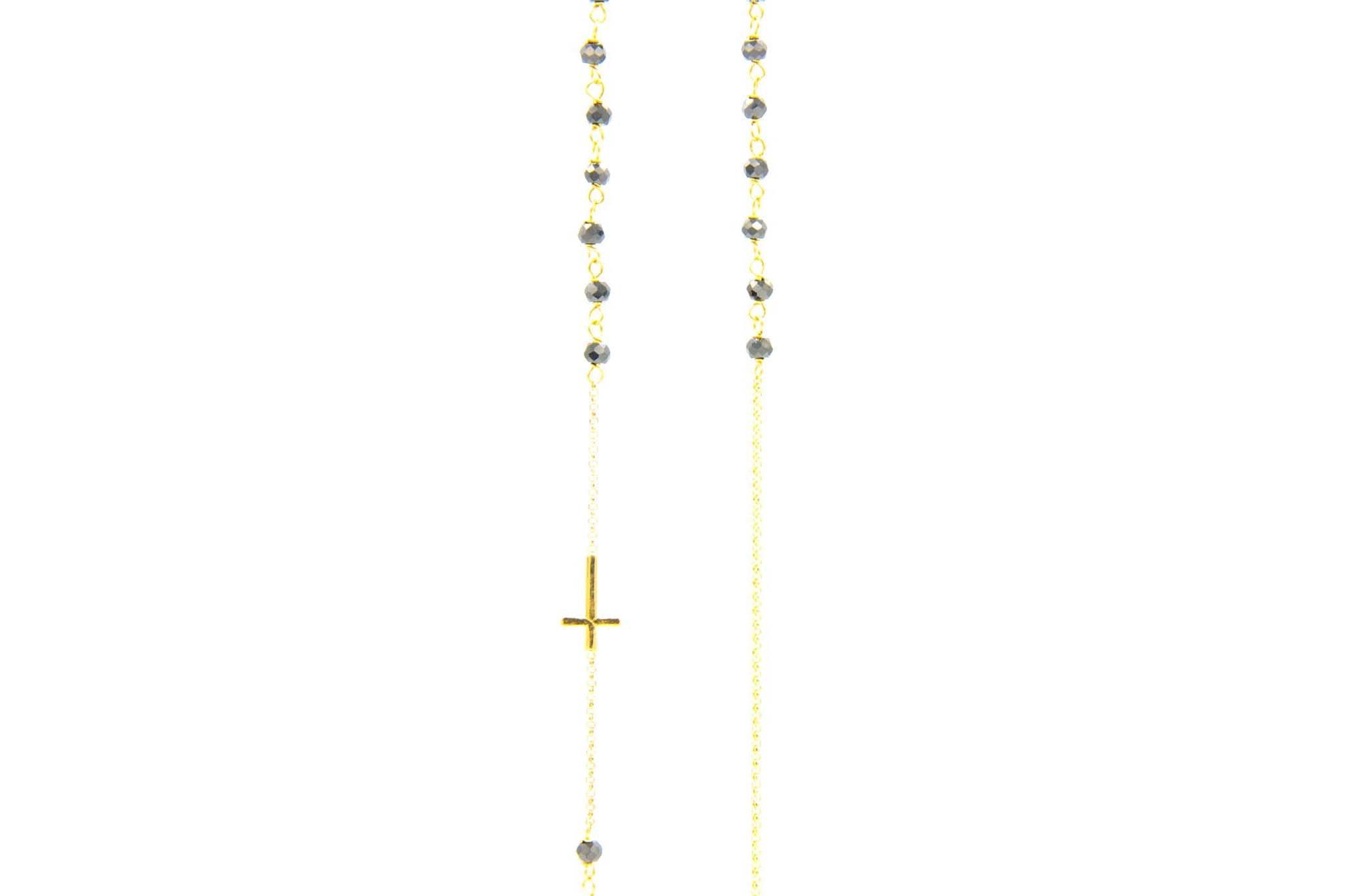 Ketting subtiele rozenkrans met zwarte kraaltjes-1