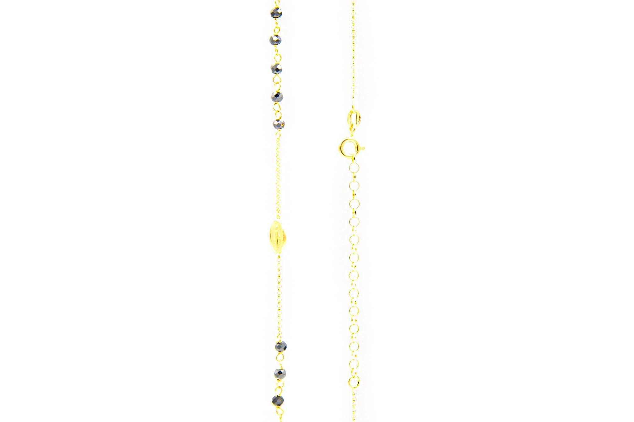 Ketting subtiele rozenkrans met zwarte kraaltjes-2