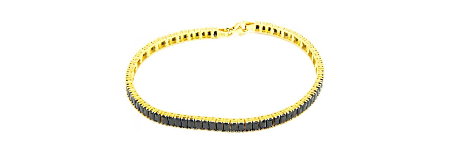 Armband tennisband met zwarte zirkonia's