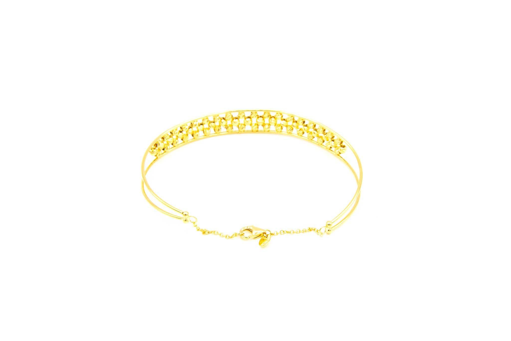 Armband opengewerkte band gevuld met diamond cut balletjes-3