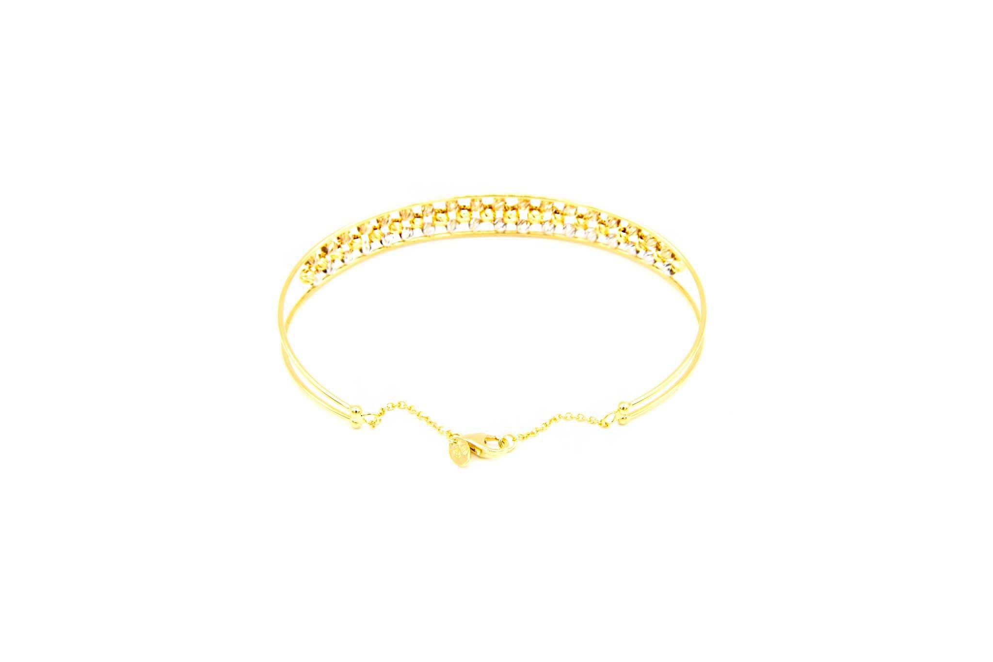Armband opengewerkte band gevuld met diamond cut balletjes-5