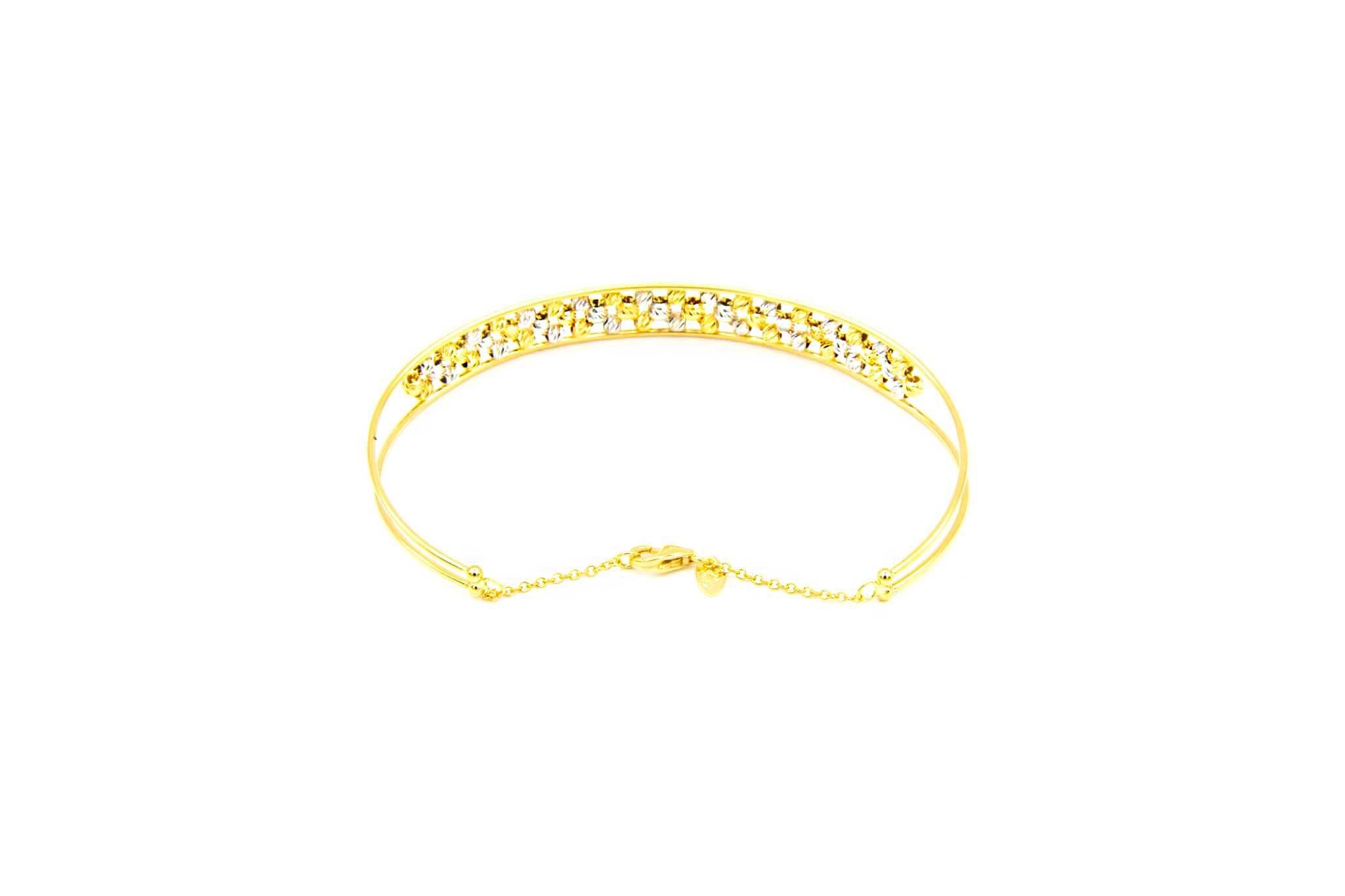 Armband opengewerkte band gevuld met diamond cut balletjes-6